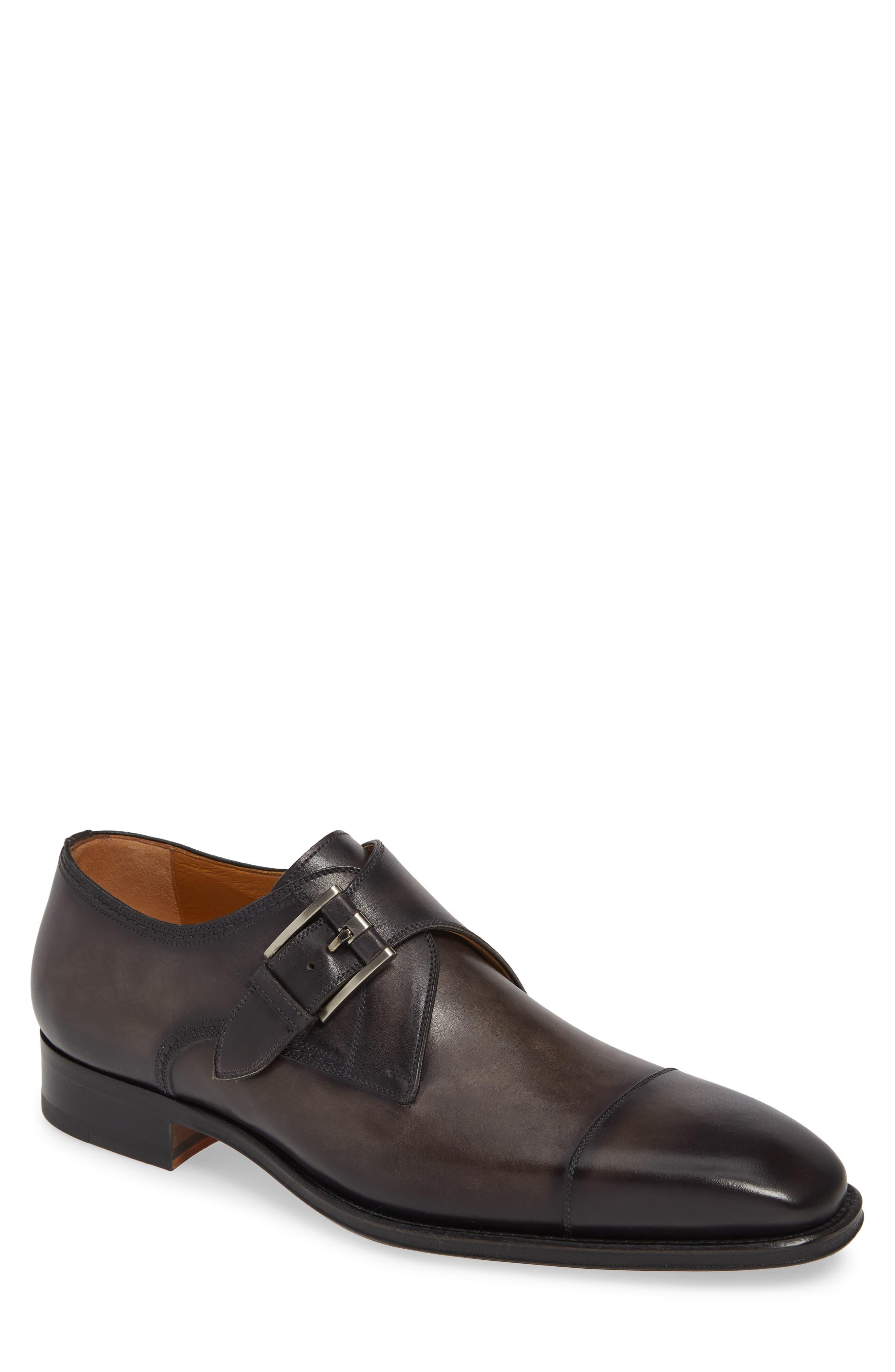 MAGNANNI Lennon Monk Strap Shoe, Main, color, GREY LEATHER