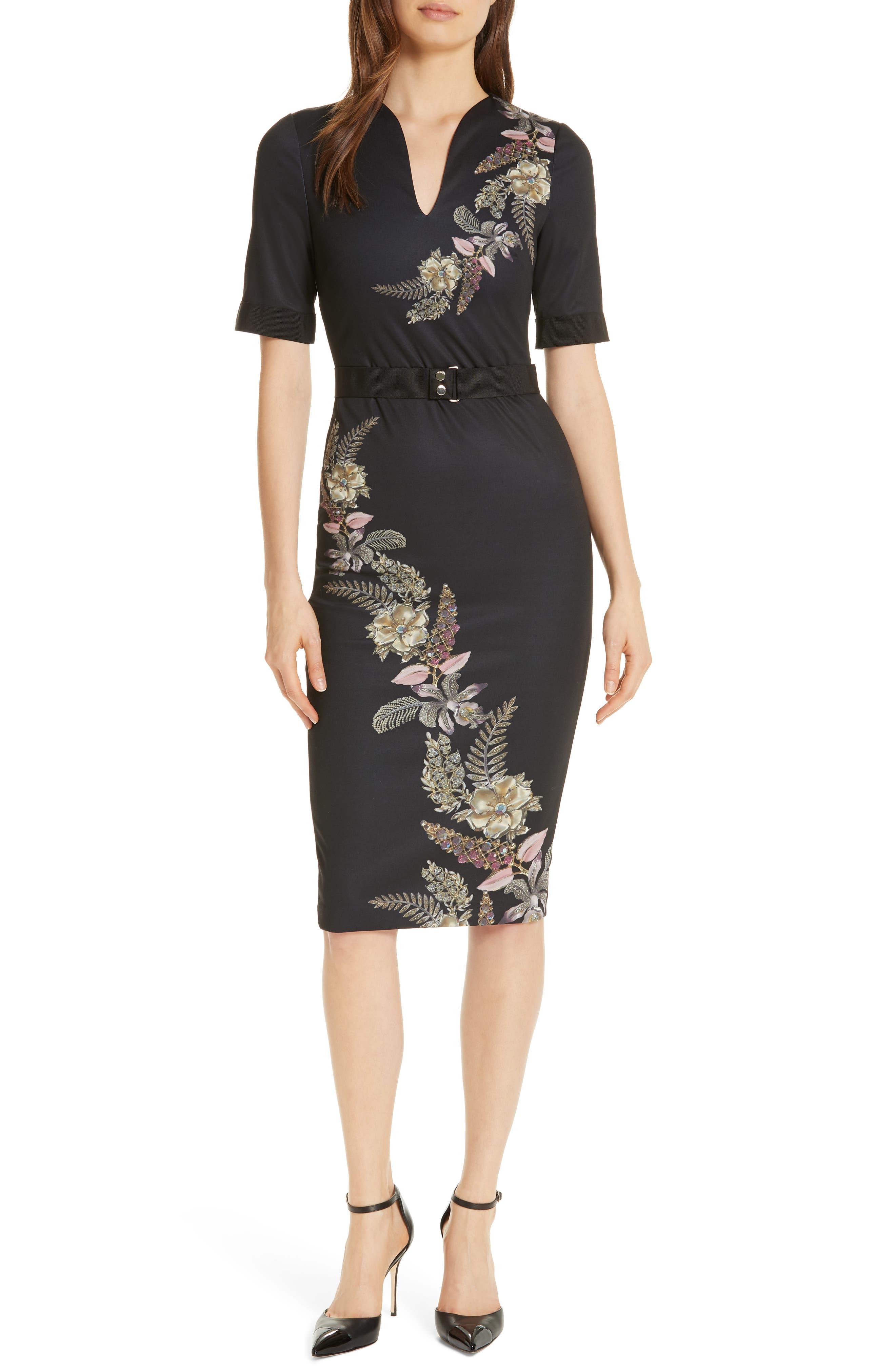 Ted Baker London Dollila Pirouette Body-Con Midi Dress, Black