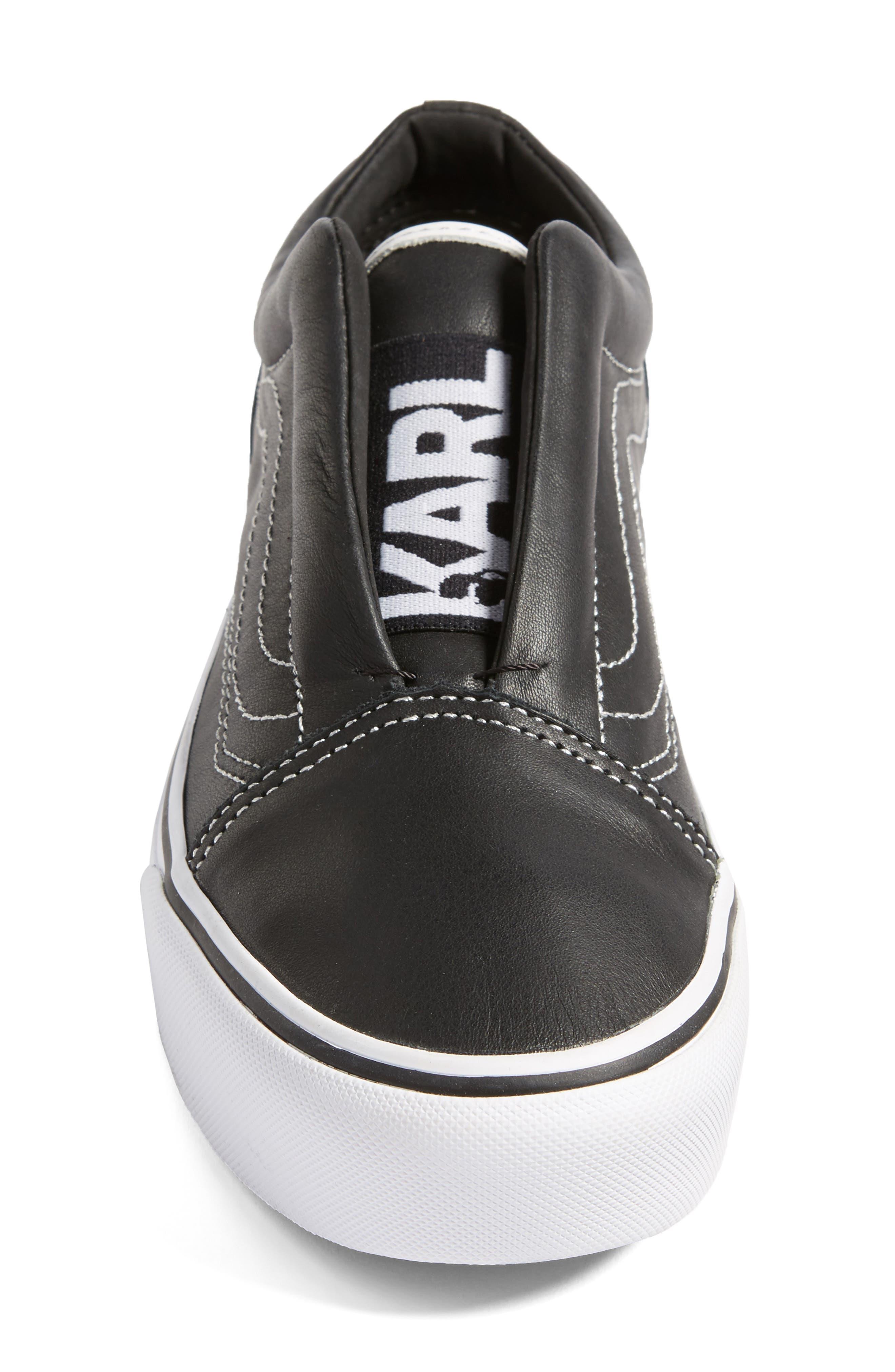 VANS,                             x KARL LAGERFELD Old Skool Leather Platform Sneaker,                             Alternate thumbnail 4, color,                             001