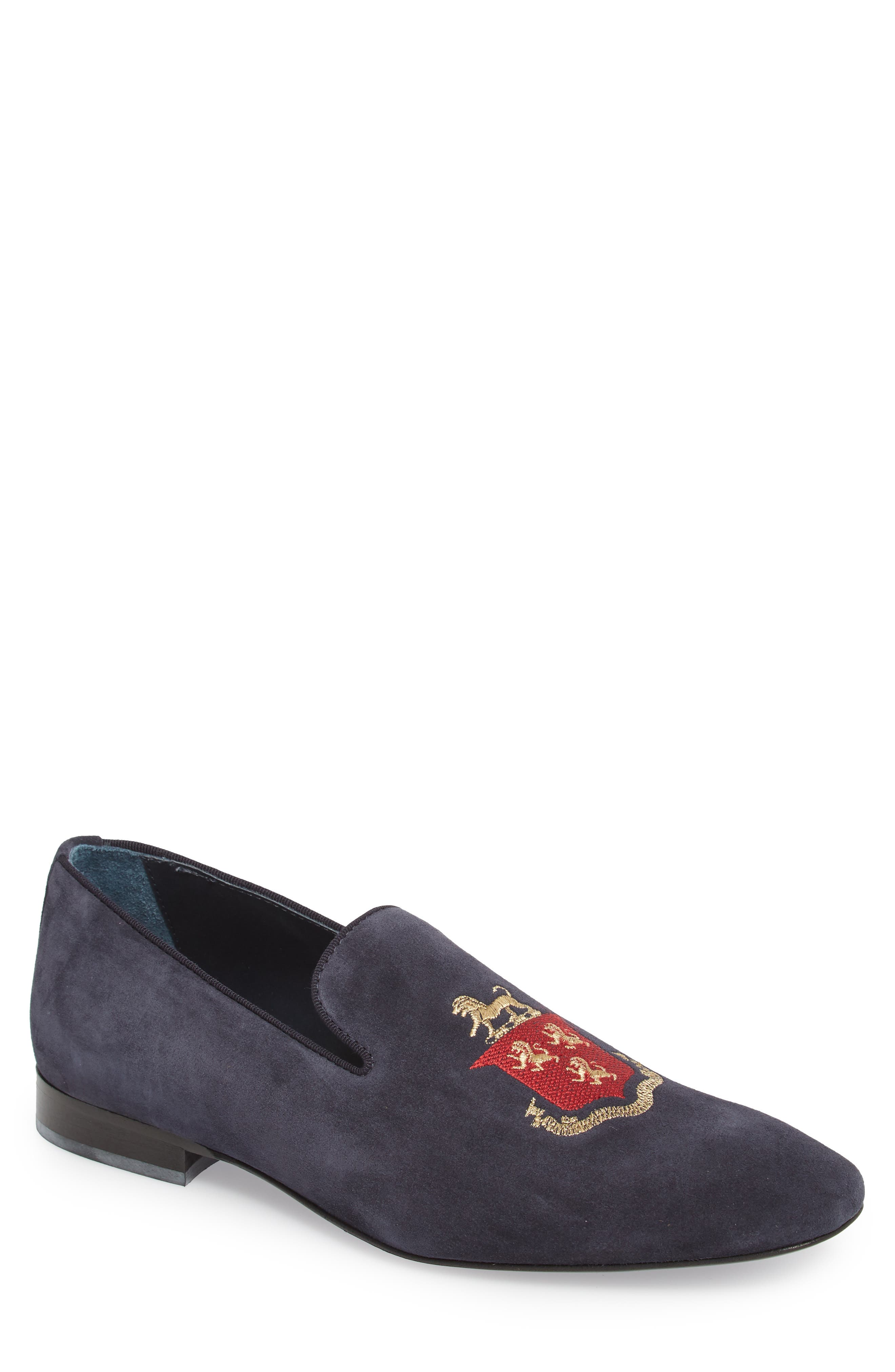 Altos Embroidered Venetian Loafer,                             Main thumbnail 1, color,                             NAVY