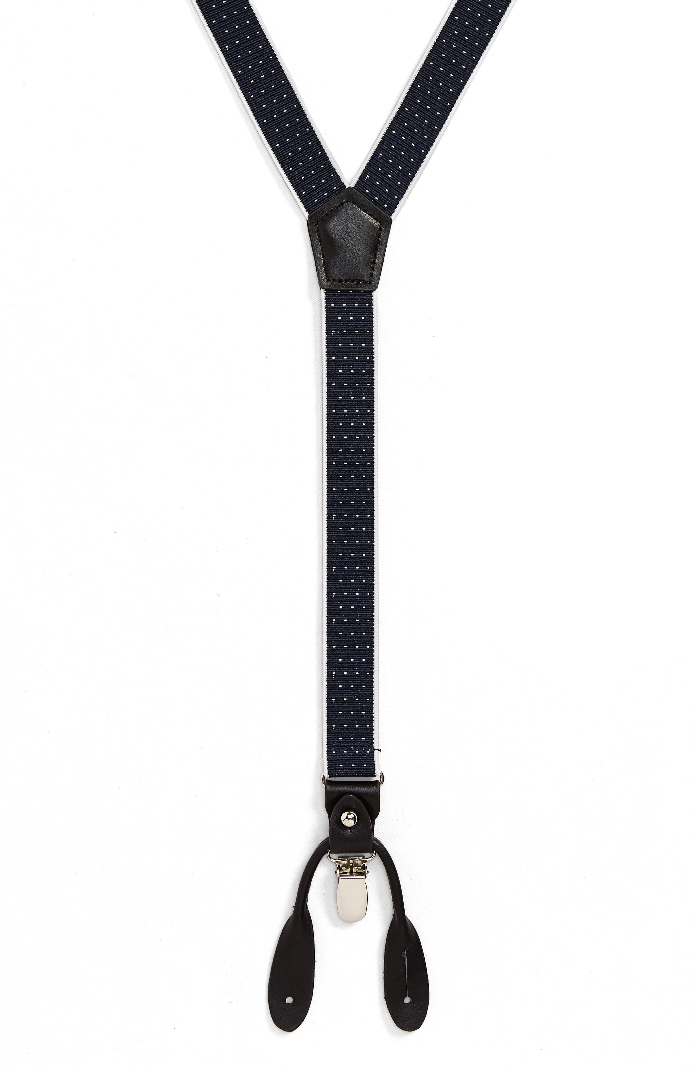 Border Dot Suspenders,                         Main,                         color, BLACK