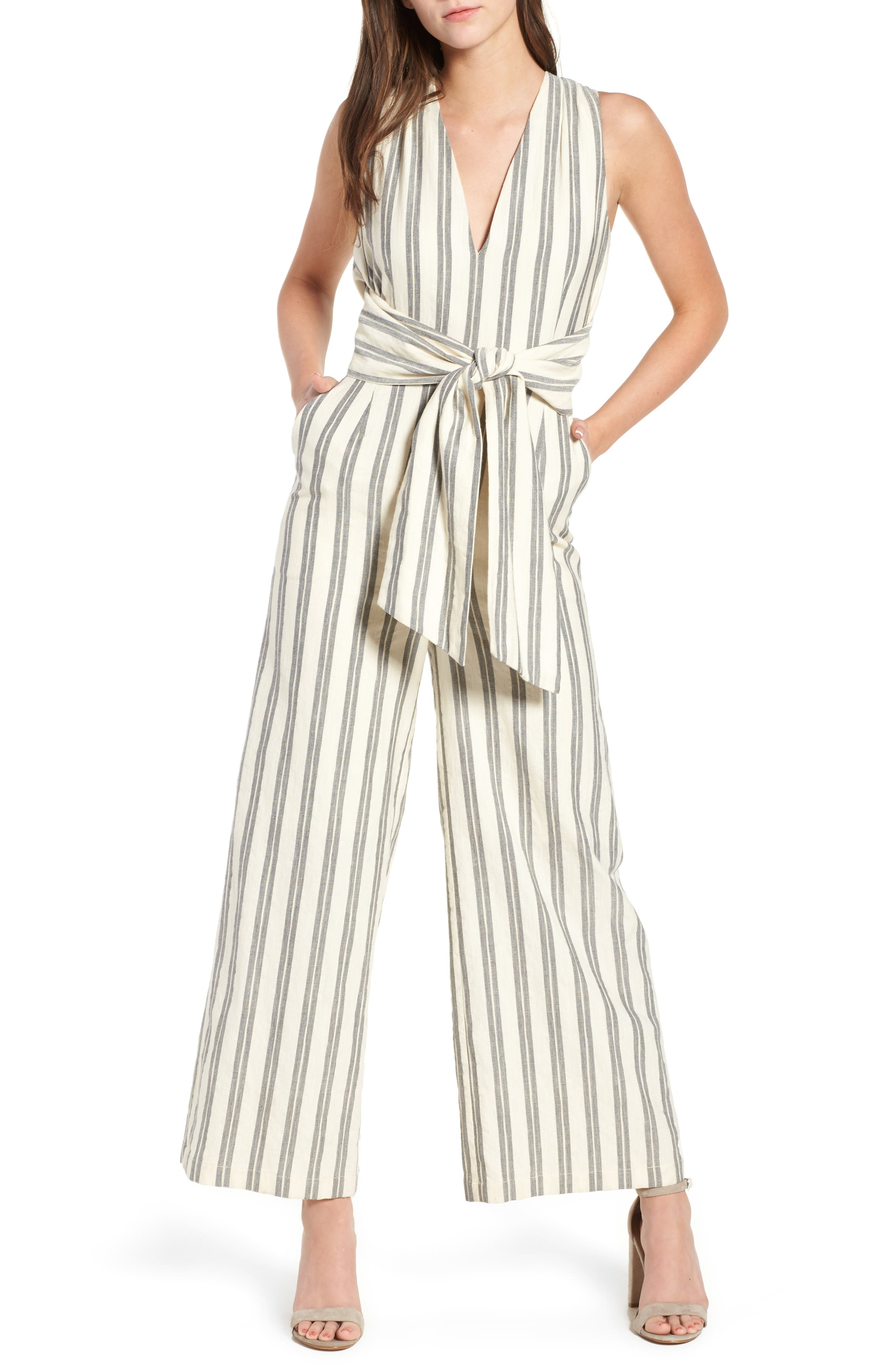 Marley Stripe Jumpsuit,                         Main,                         color, WHITE MULTI