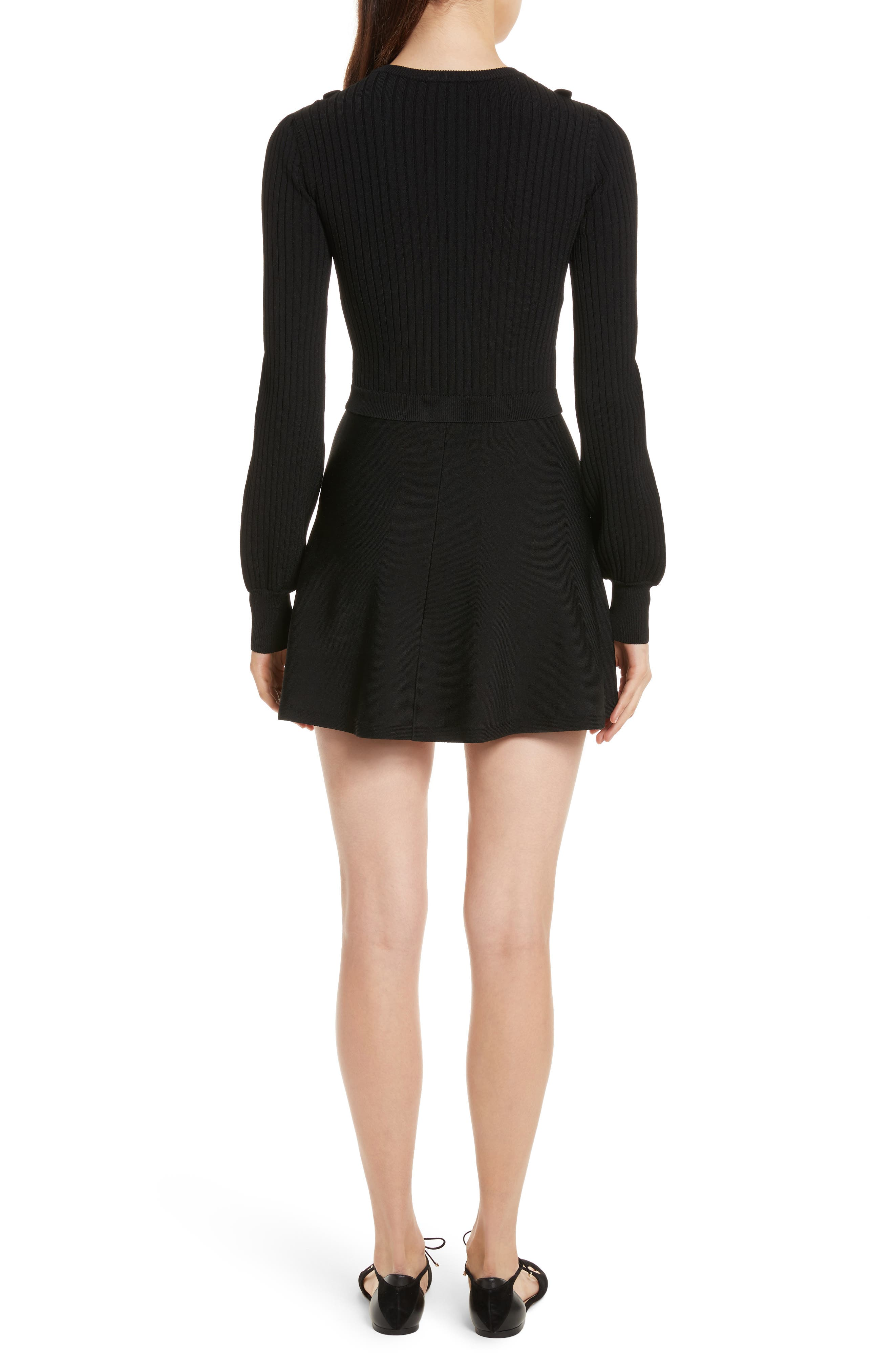 Hand Stitched Stretch Knit Dress,                             Alternate thumbnail 2, color,                             001