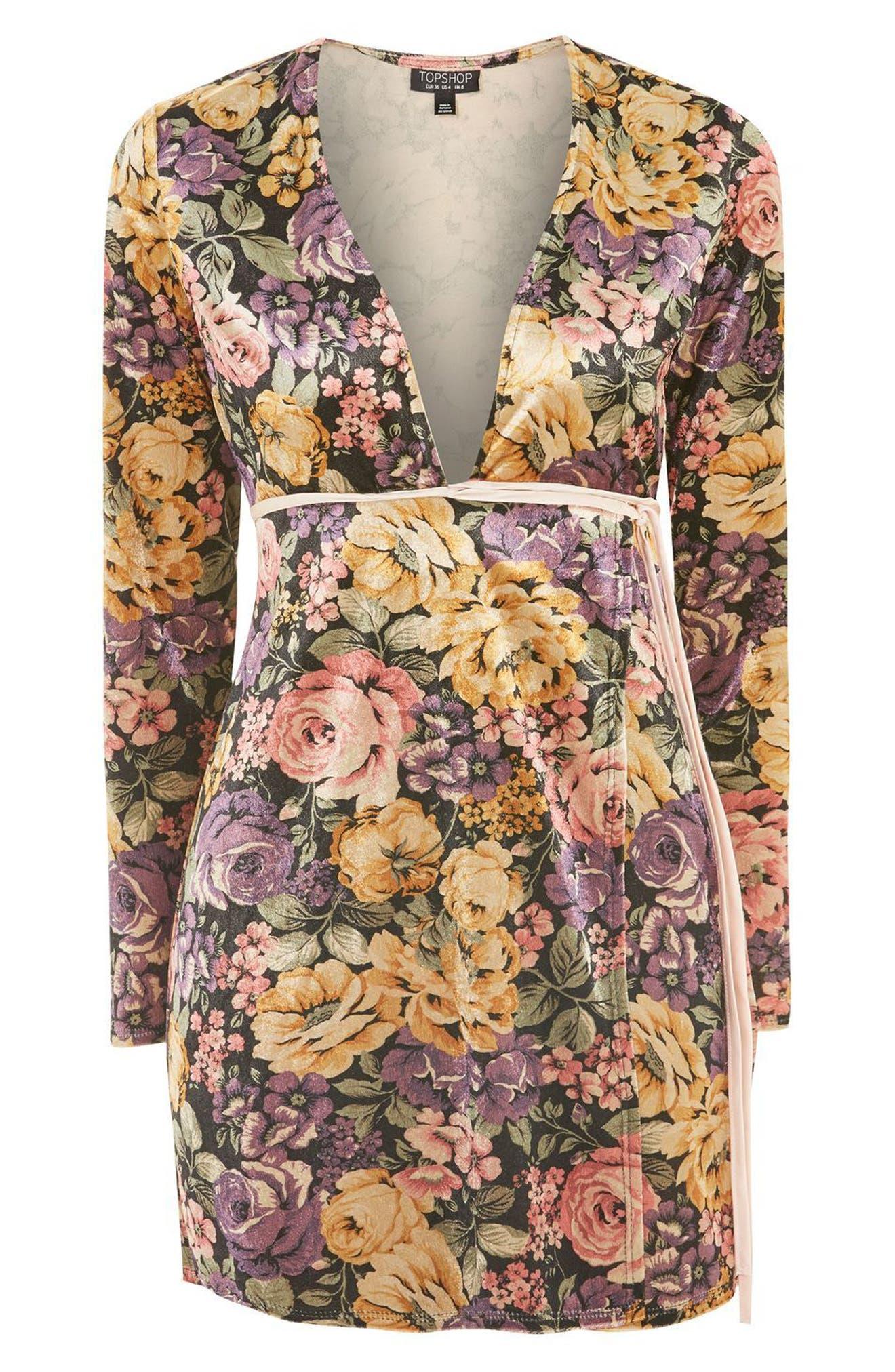 Plunge Floral Wrap Dress,                             Alternate thumbnail 4, color,
