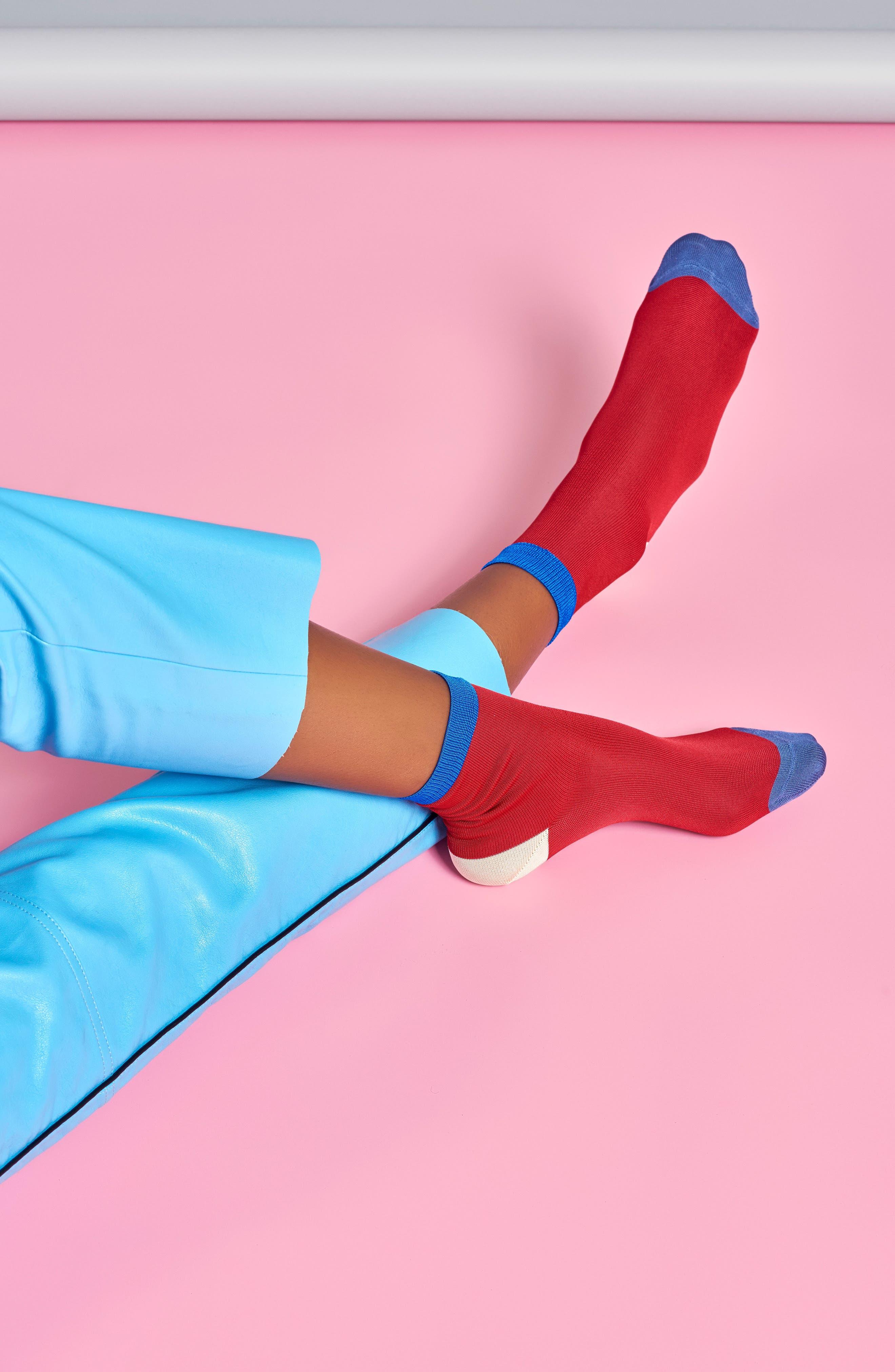 Grace Colorblock Ankle Socks,                             Alternate thumbnail 3, color,                             600