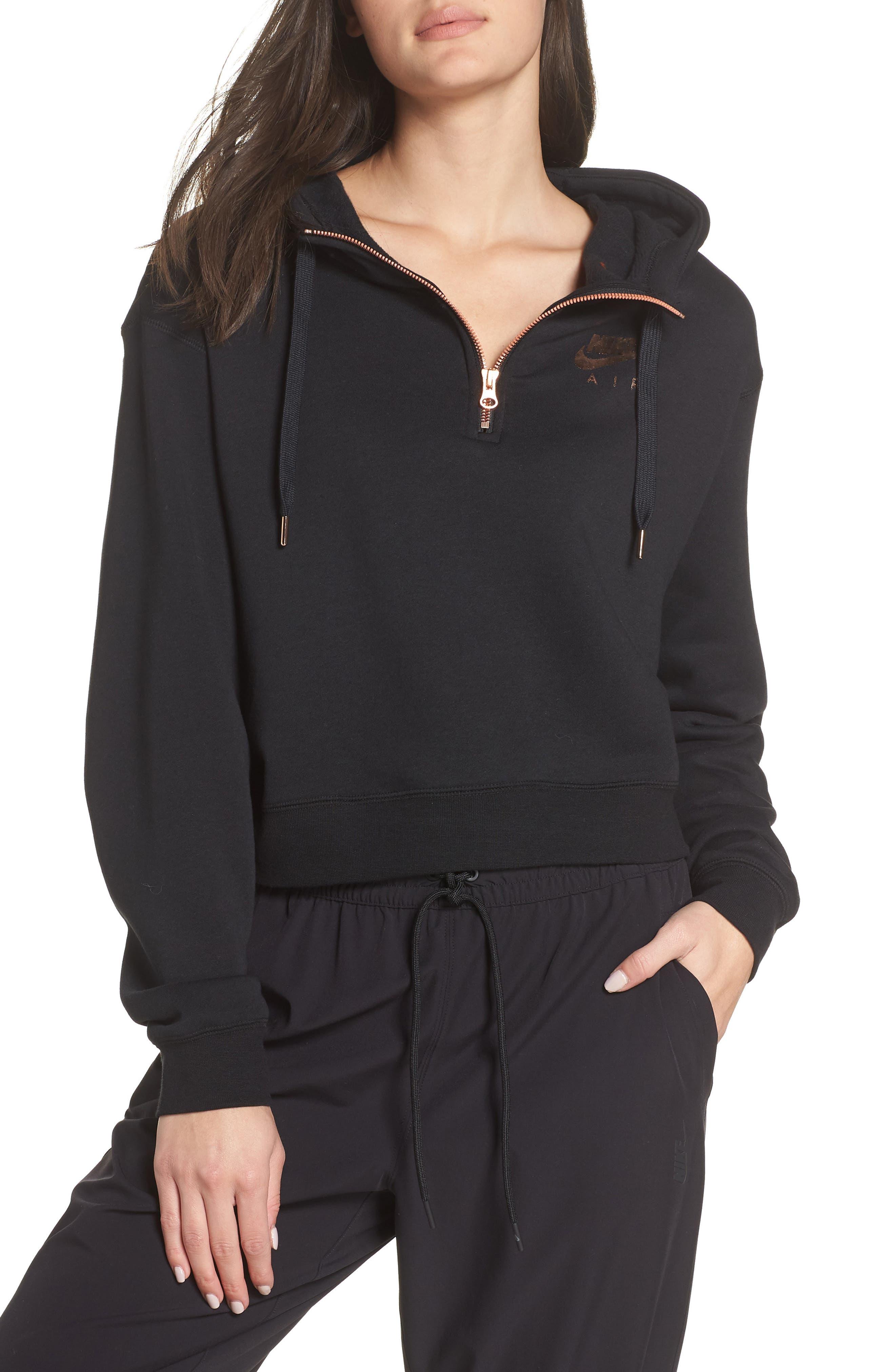 Sportswear Women's Half Zip Fleece Hoodie,                         Main,                         color, BLACK/ BLACK/ ROSE GOLD