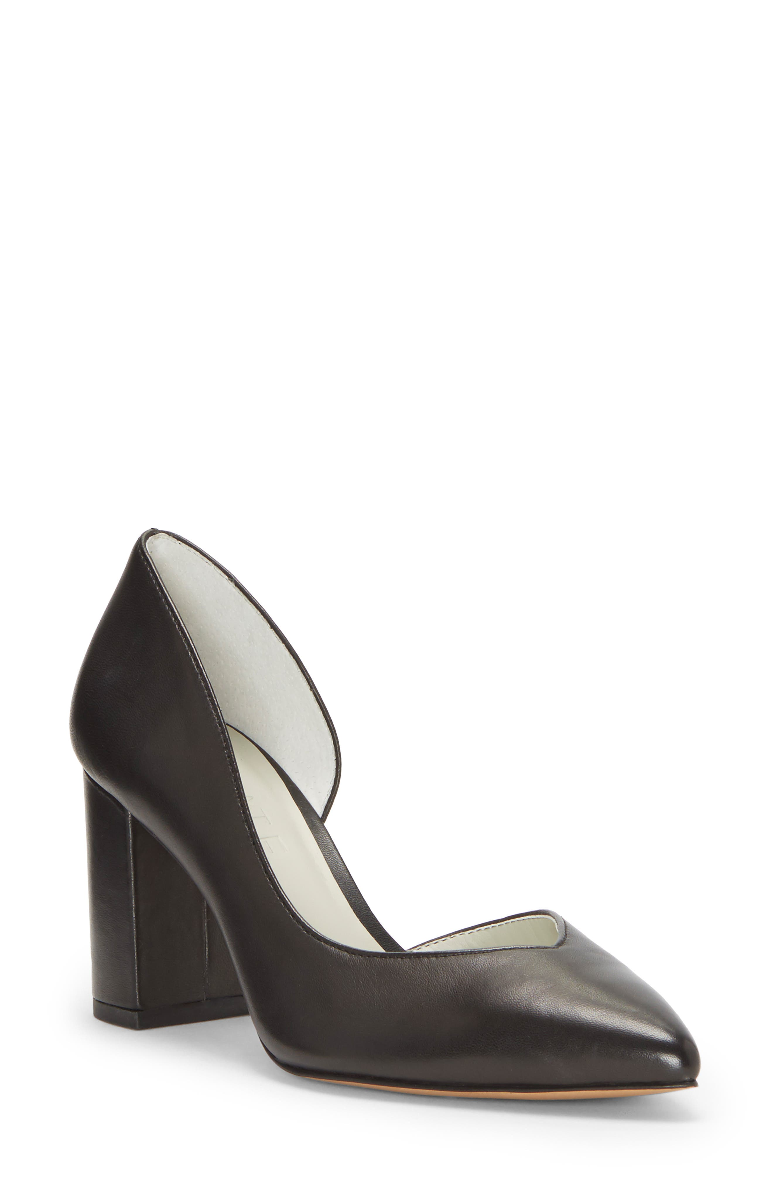 Sisteen Half d'Orsay Pump,                             Main thumbnail 1, color,                             BLACK LEATHER