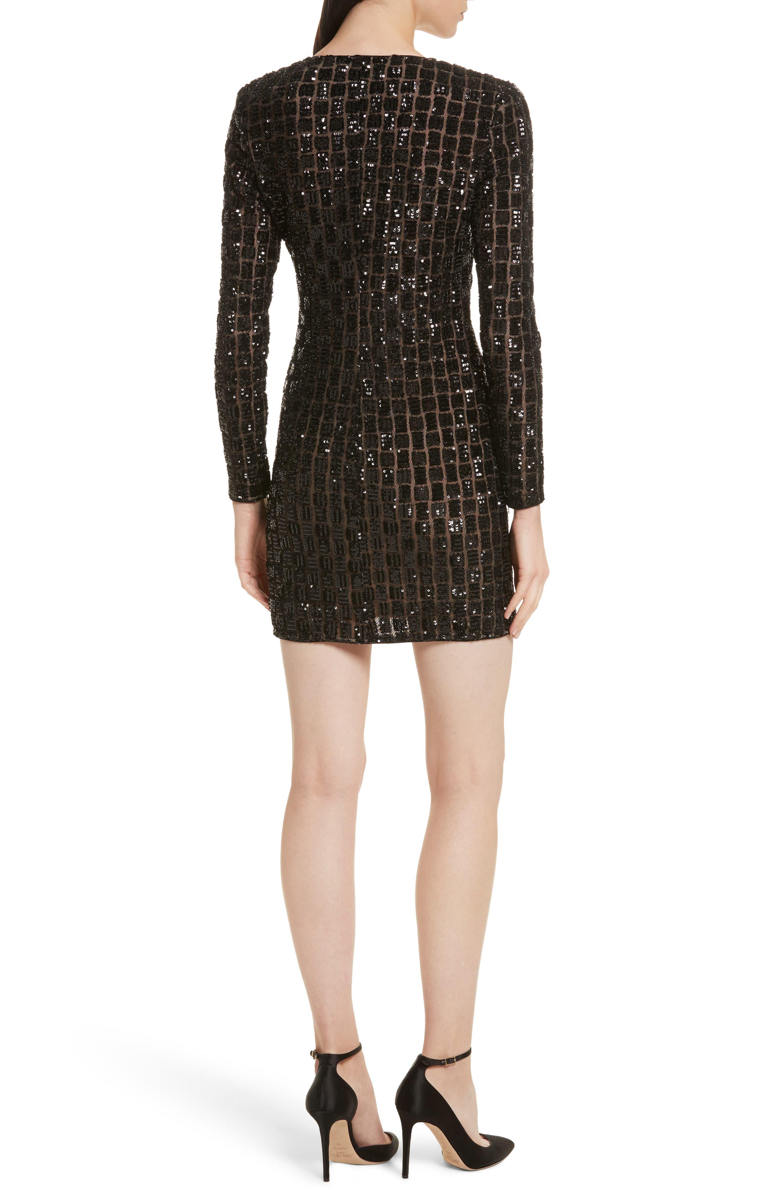 Zip Front Sequin Minidress,                             Alternate thumbnail 2, color,                             001