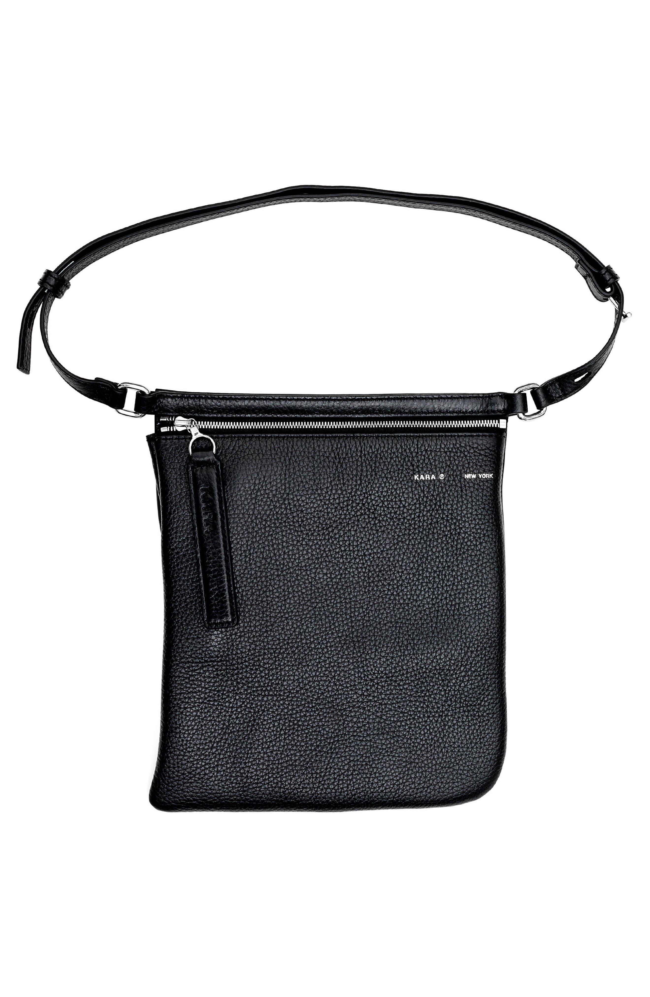 Belt Bag,                             Alternate thumbnail 3, color,                             BLACK LEATHER