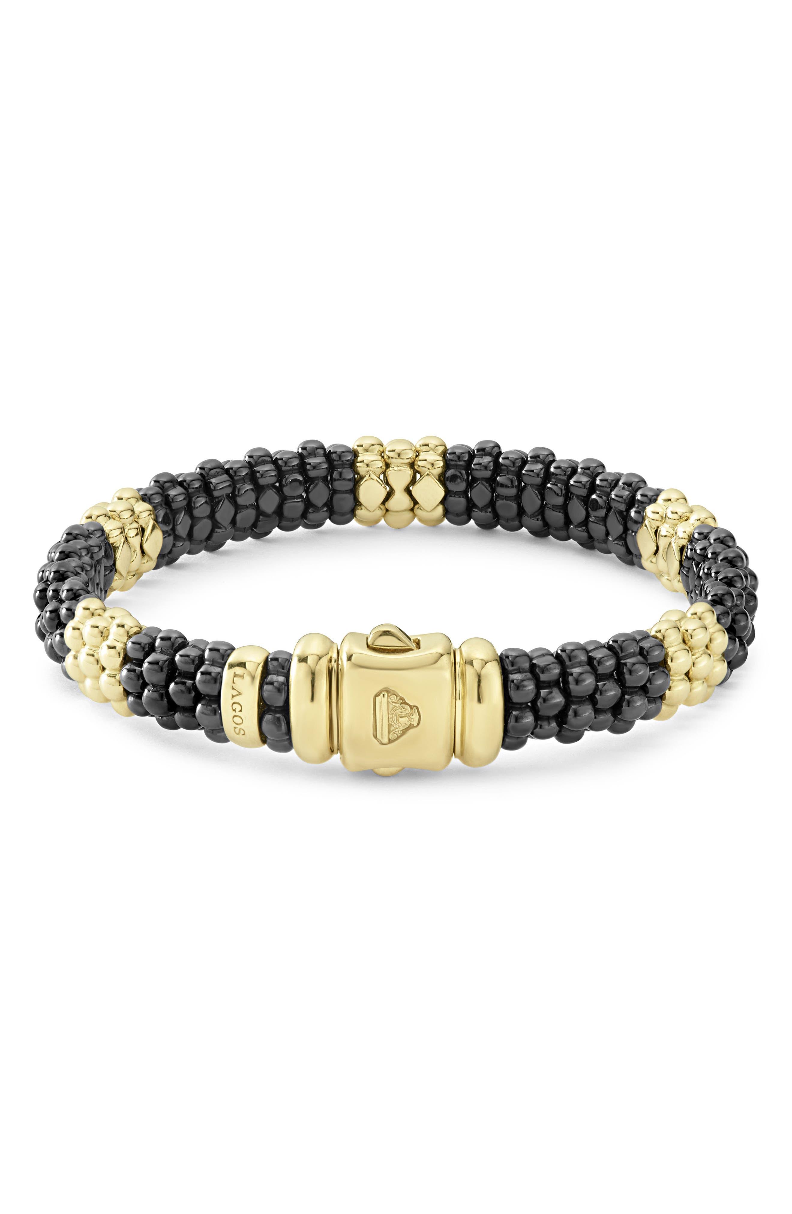 Gold & Black Caviar Station Bracelet,                             Alternate thumbnail 3, color,                             GOLD