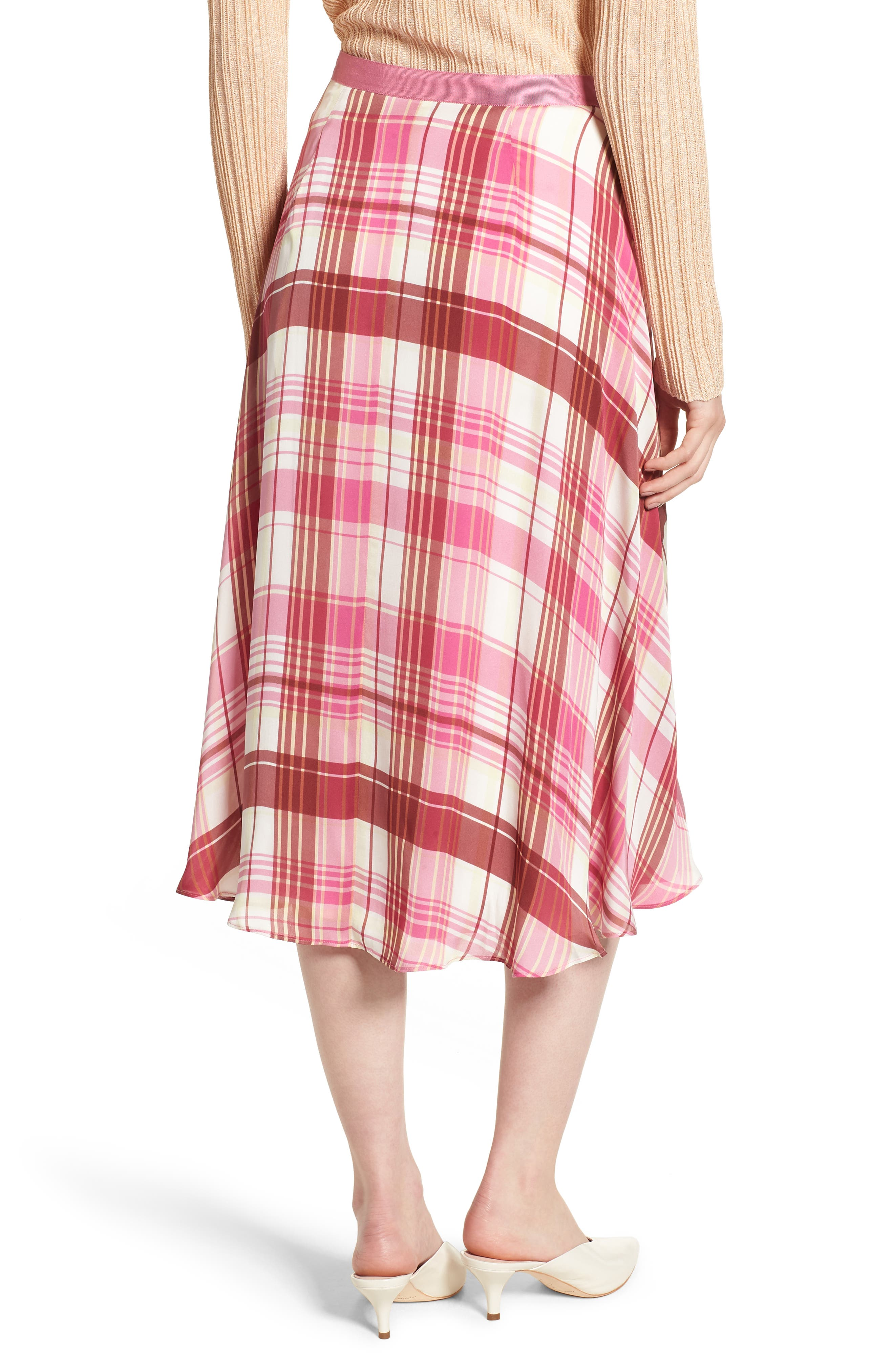 Plaid Silk Skirt,                             Alternate thumbnail 2, color,                             PINK PHLOX LARA PLAID