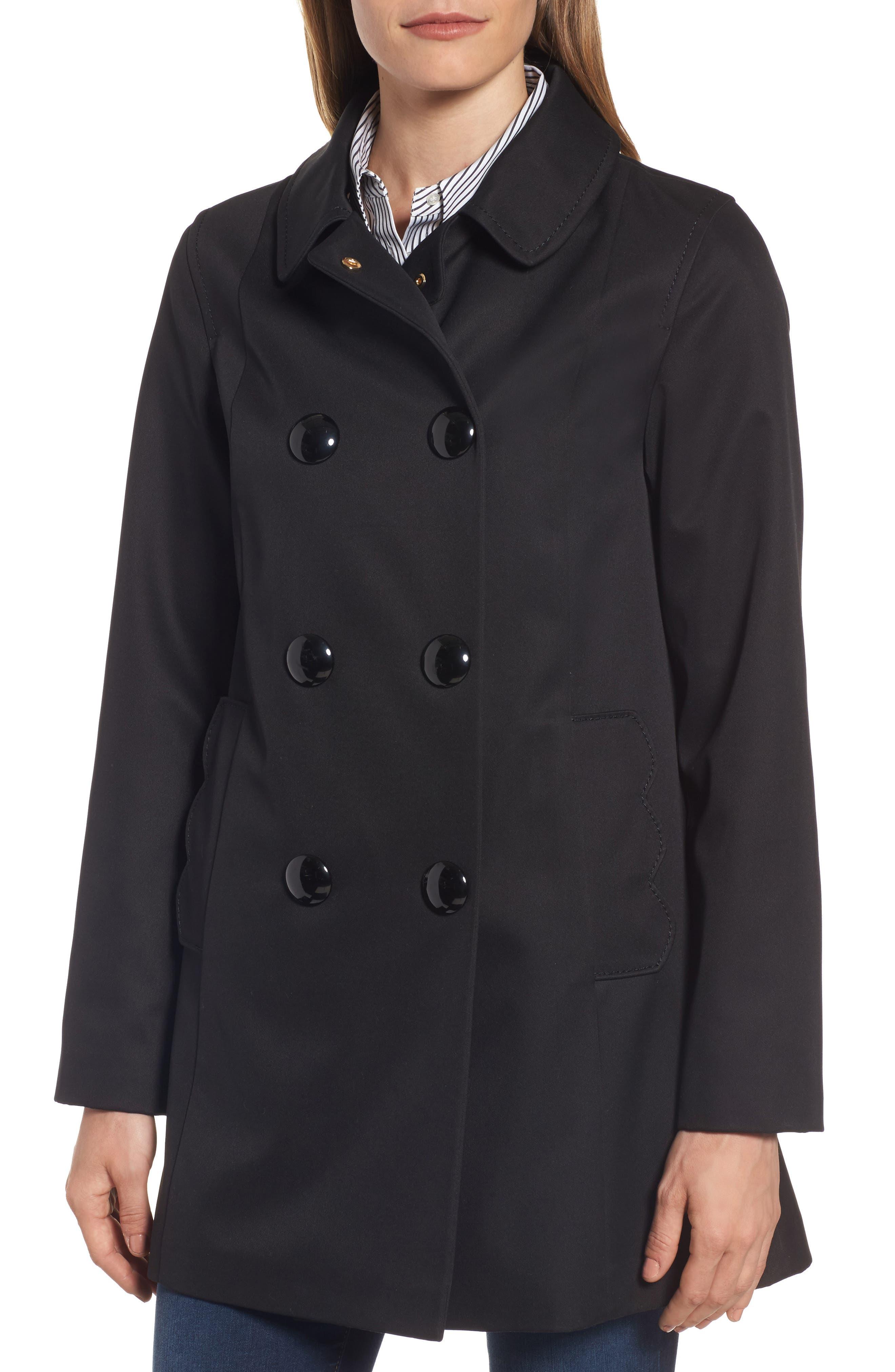 scallop pocket a-line raincoat,                             Alternate thumbnail 4, color,                             001