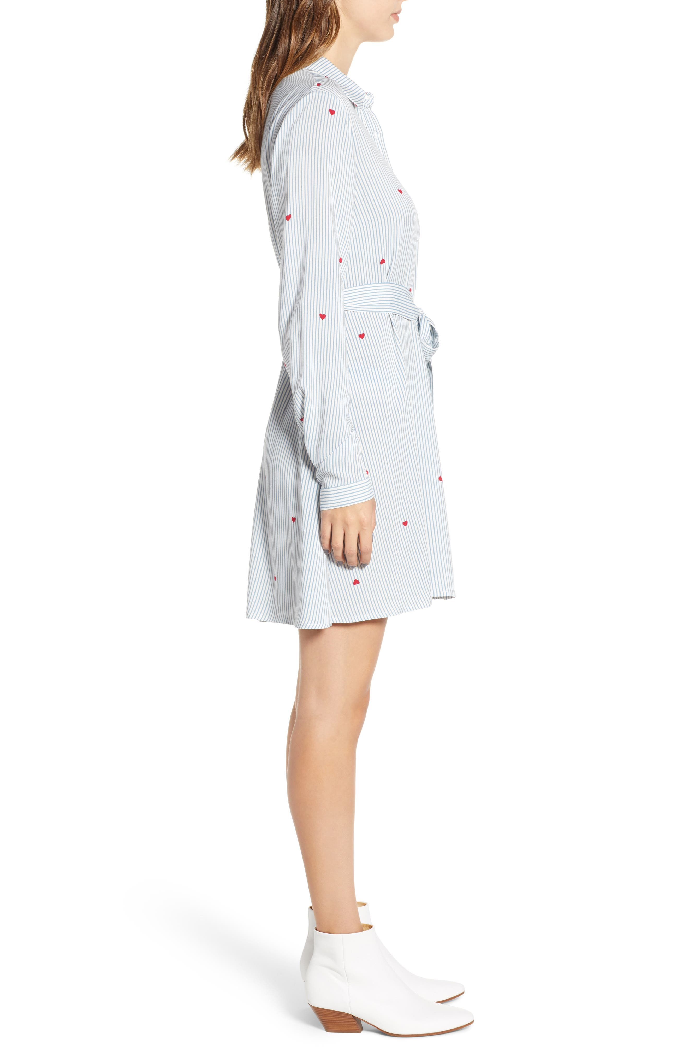 LOVE, FIRE,                             Hattie Heart Shirtdress,                             Alternate thumbnail 3, color,                             400
