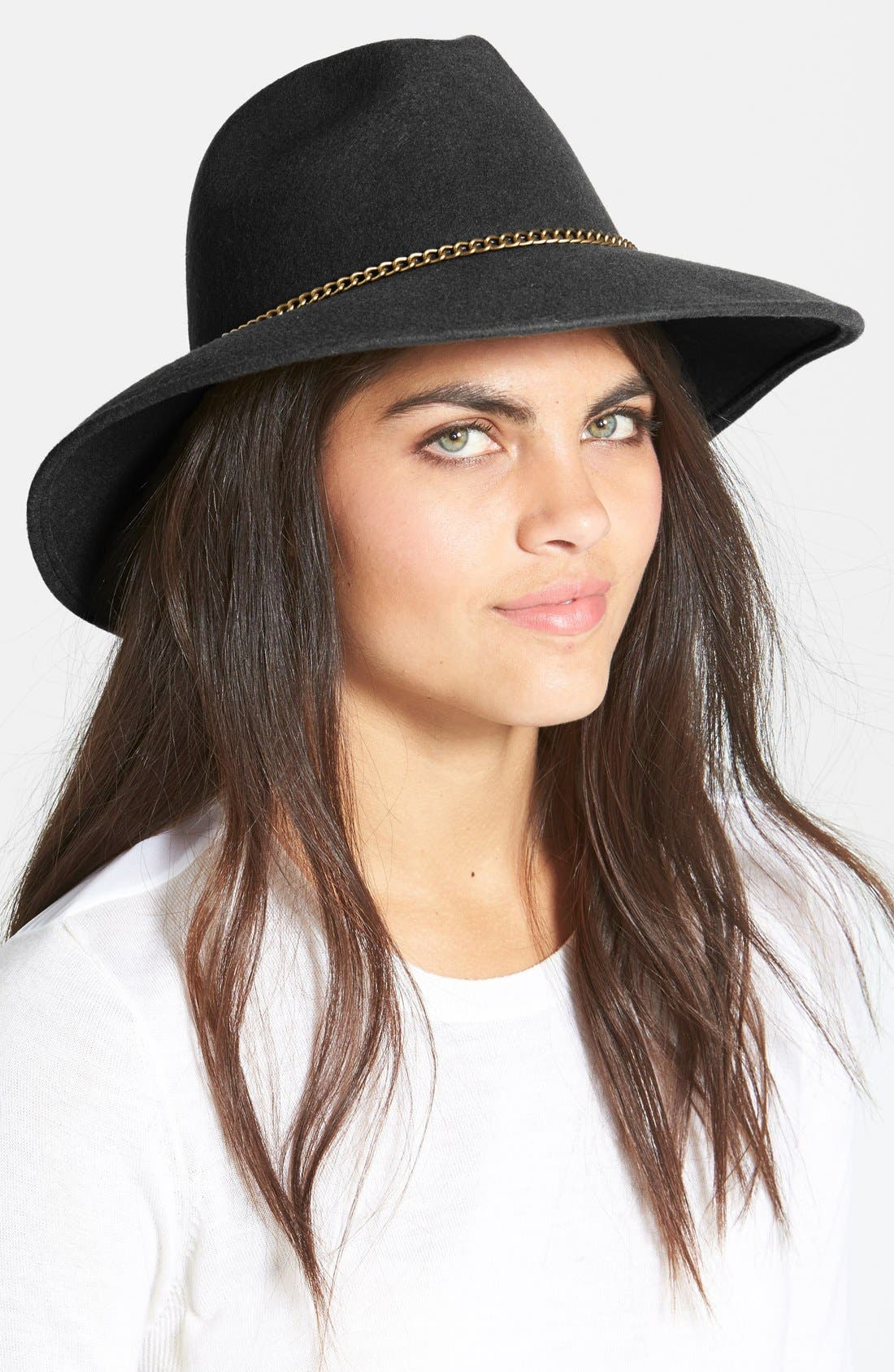 Chain Trim Wool Fedora,                         Main,                         color, 001