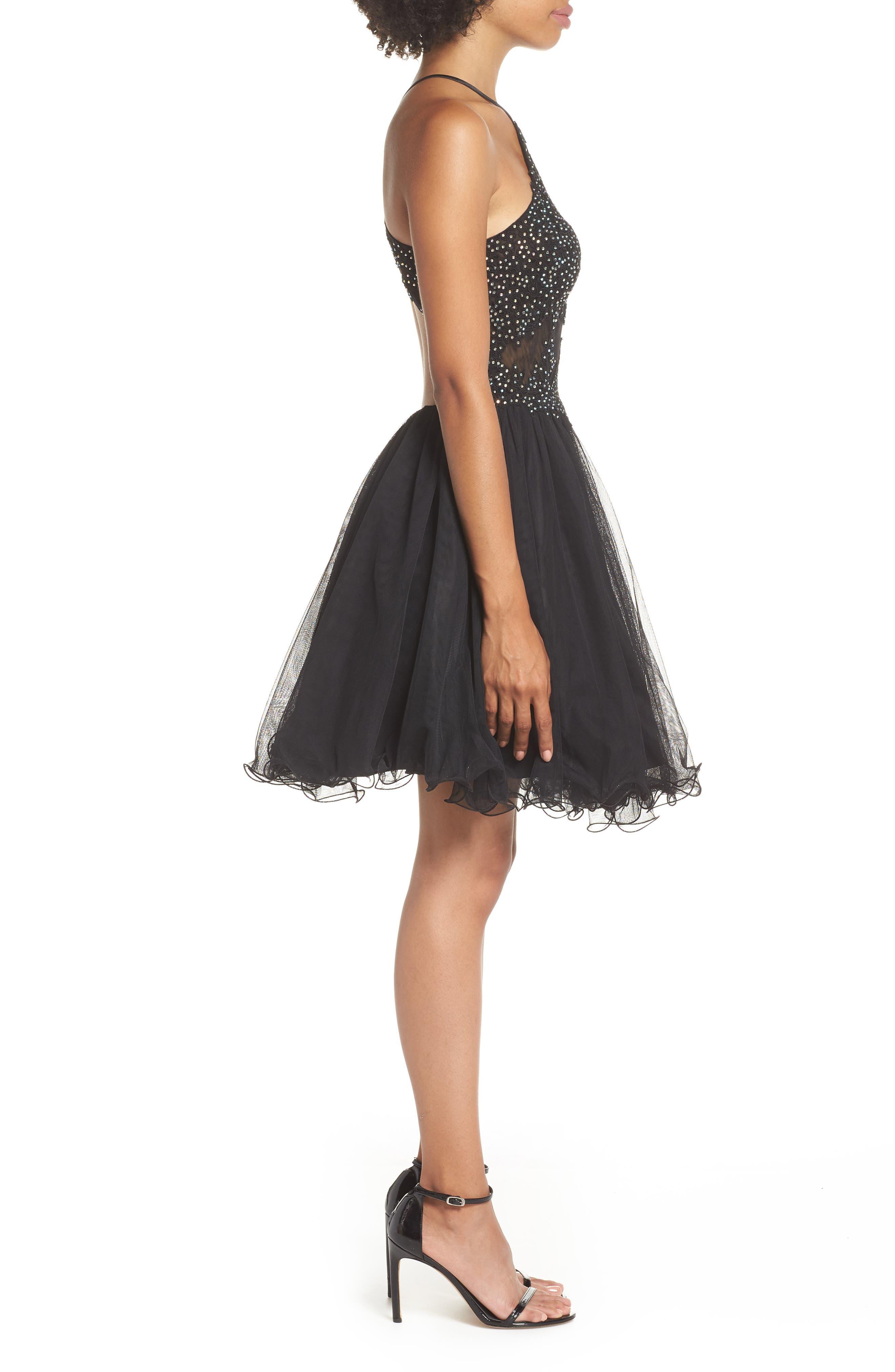 Halter Neck Appliqué Mesh Party Dress,                             Alternate thumbnail 3, color,                             BLACK