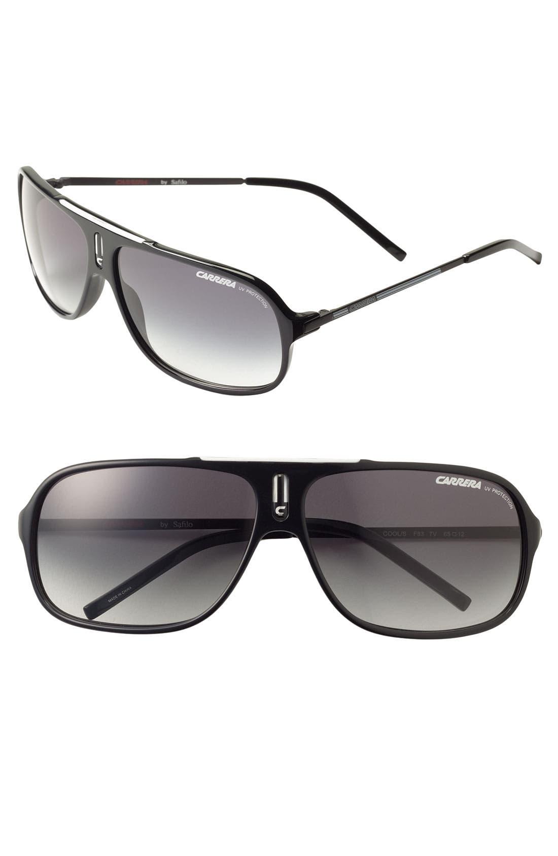 'Cool' 65mm Aviator Sunglasses,                             Main thumbnail 1, color,                             BLACK