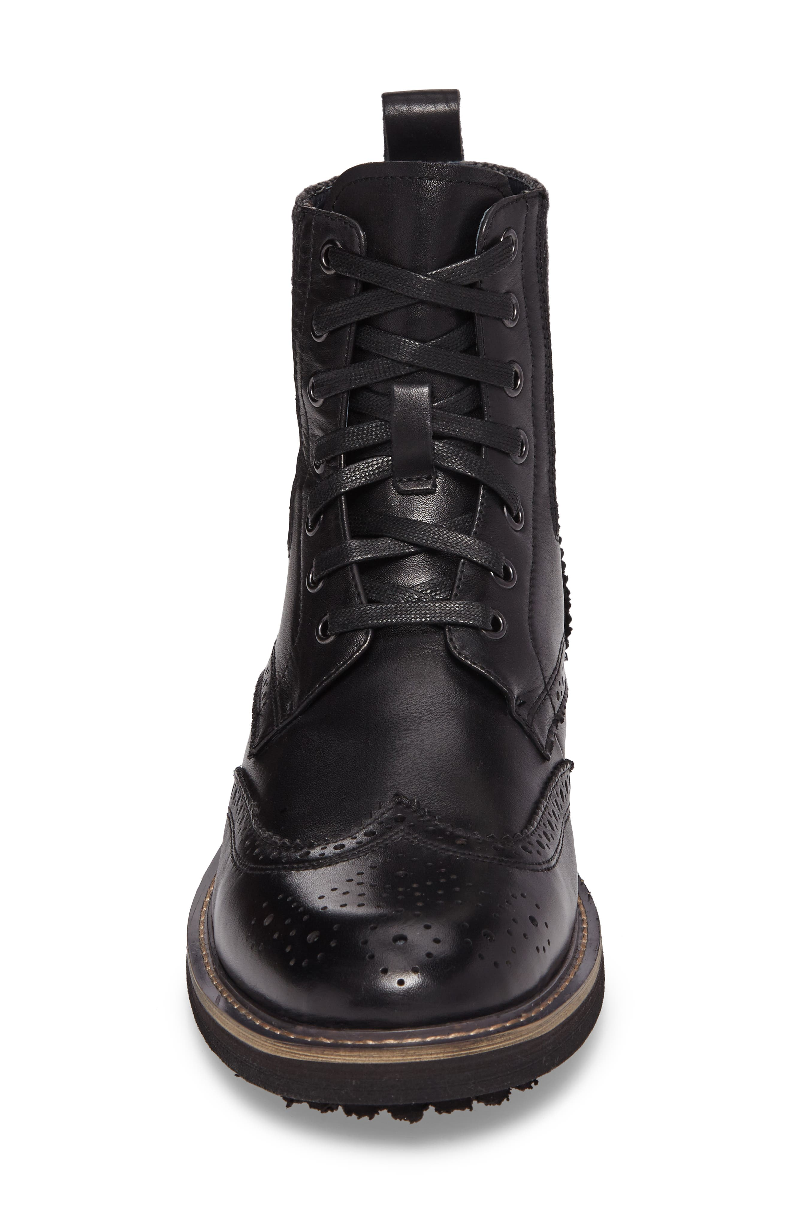Farber Wingtip Boot,                             Alternate thumbnail 4, color,                             BLACK LEATHER