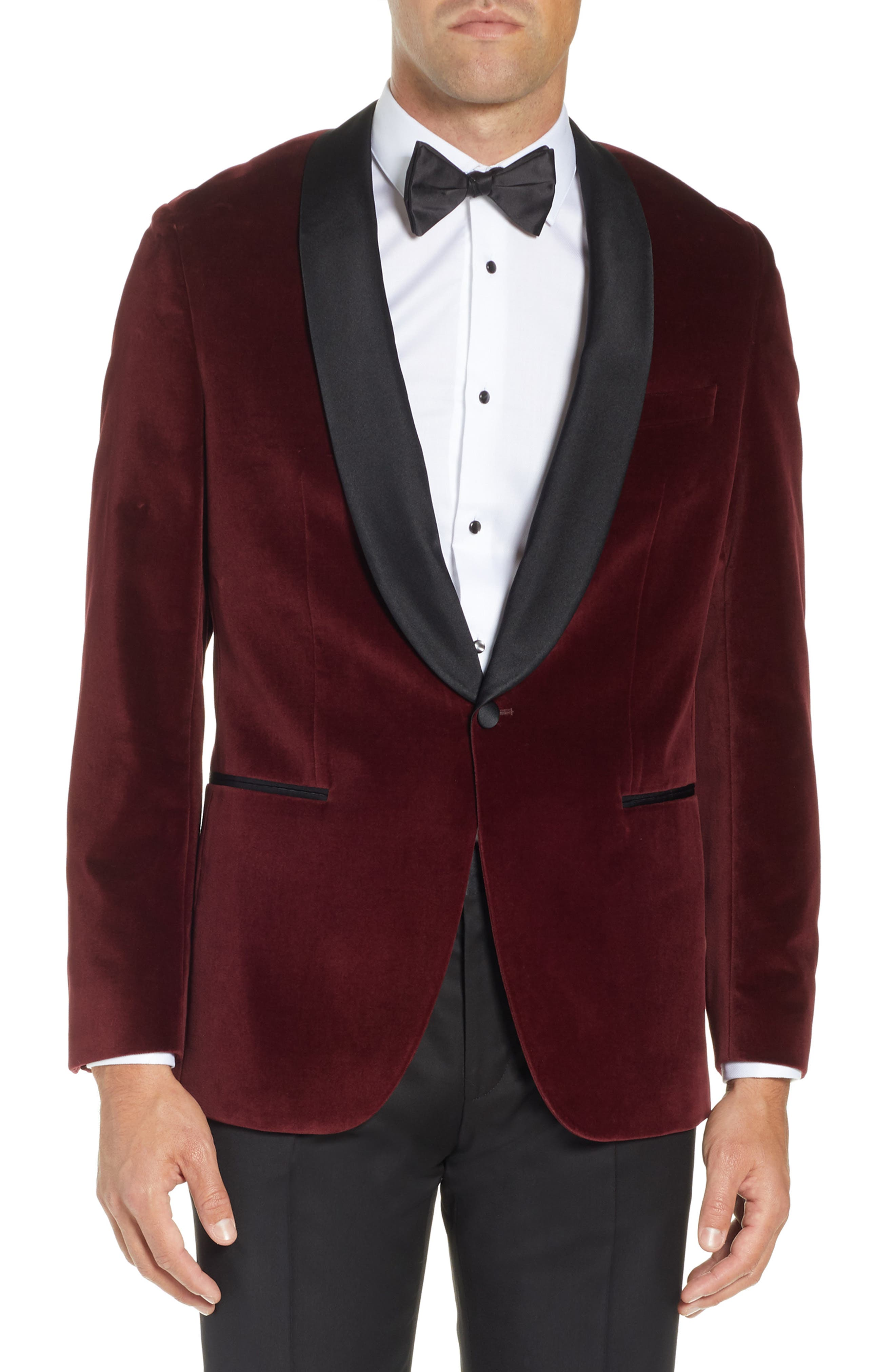 Hockley Slim Fit Velvet Cotton Dinner Jacket,                             Main thumbnail 1, color,                             DARK PURPLE