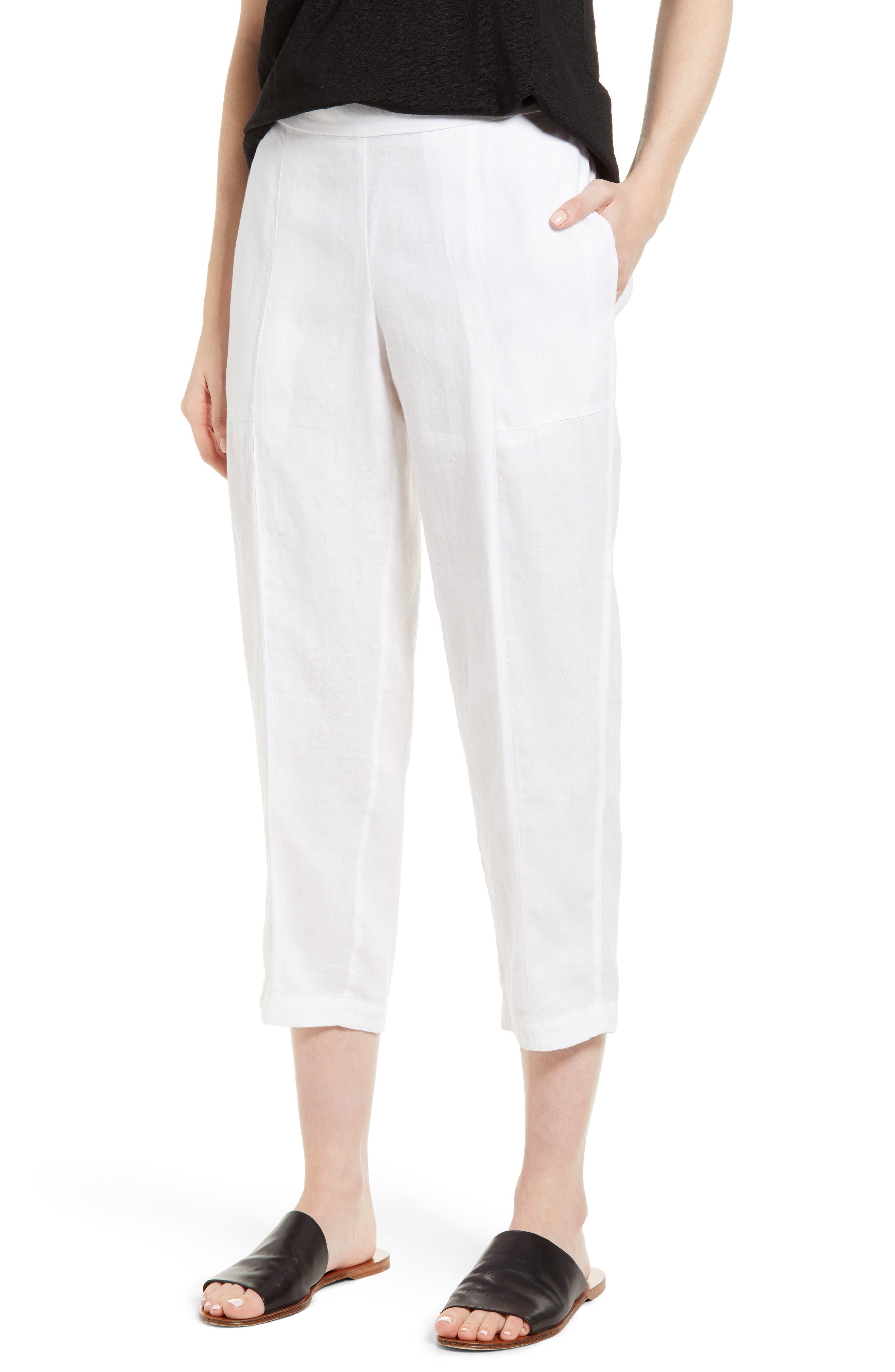 Organic Linen Crop Pants,                             Main thumbnail 2, color,