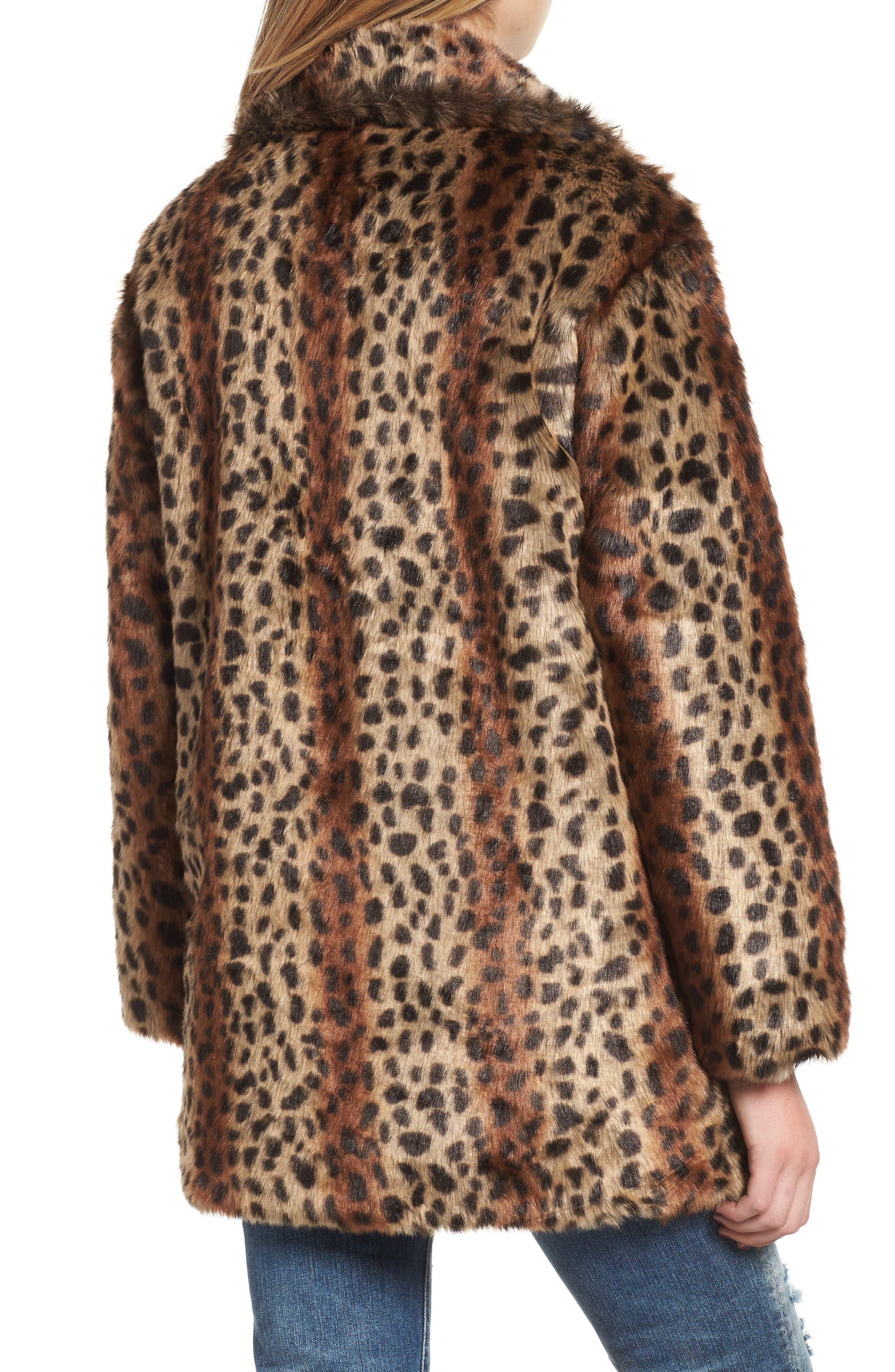 Mika Leopard Faux Fur Jacket,                             Alternate thumbnail 2, color,                             200