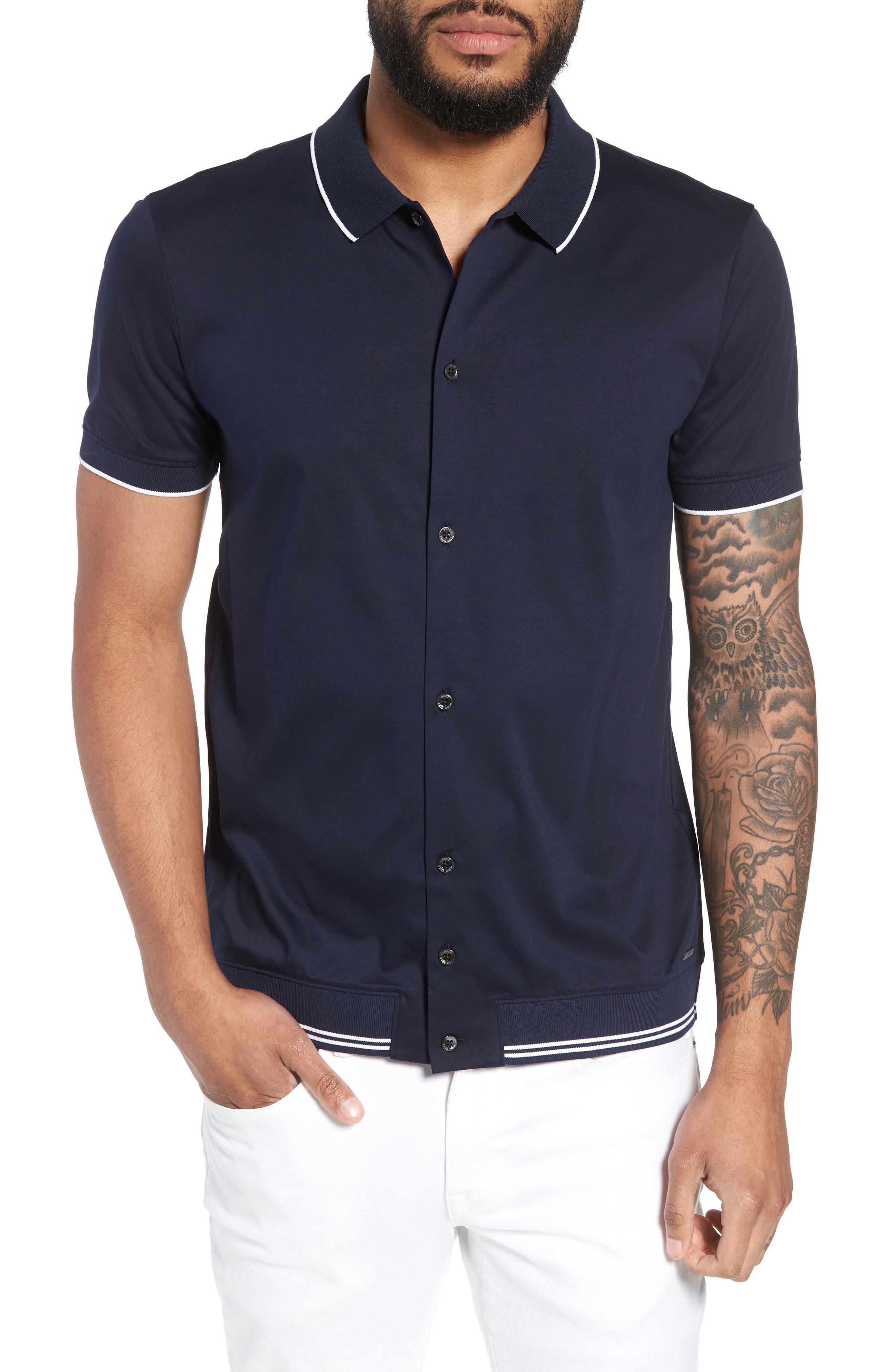 Puno Slim Fit Knit Short Sleeve Sport Shirt,                         Main,                         color, 410