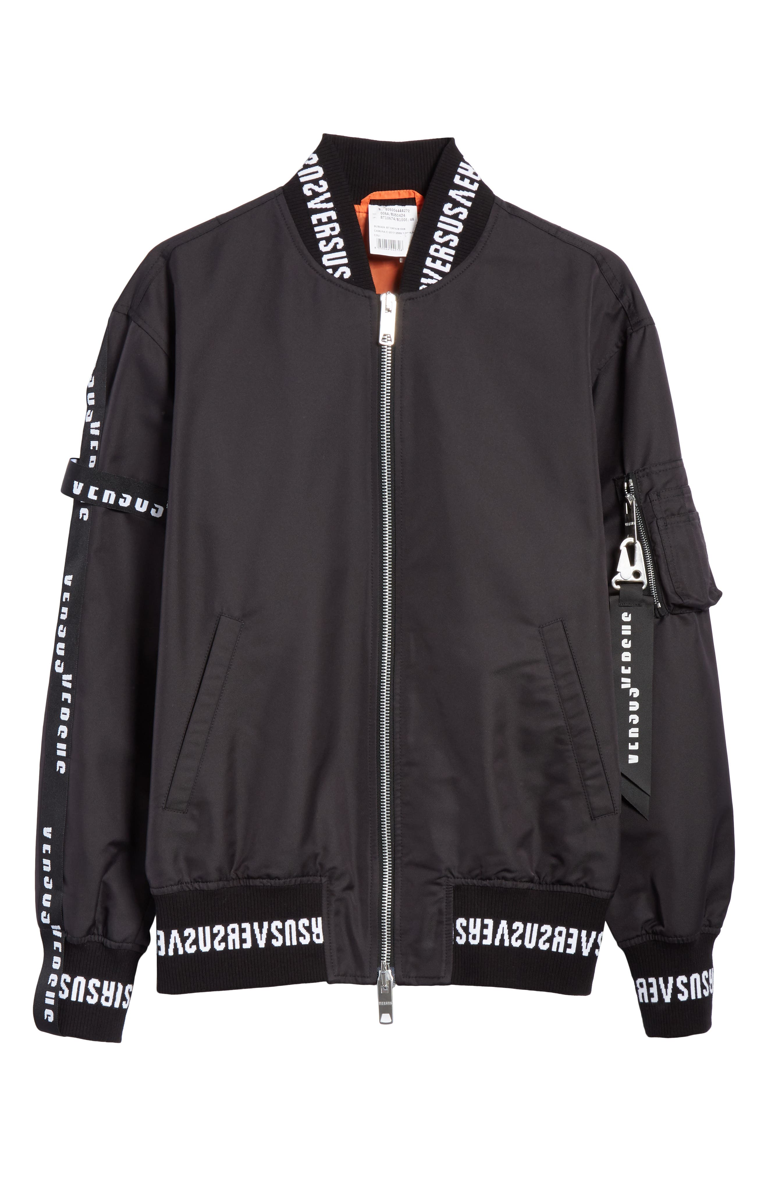 Strap Bomber Jacket,                             Alternate thumbnail 5, color,                             B1008 BLACK
