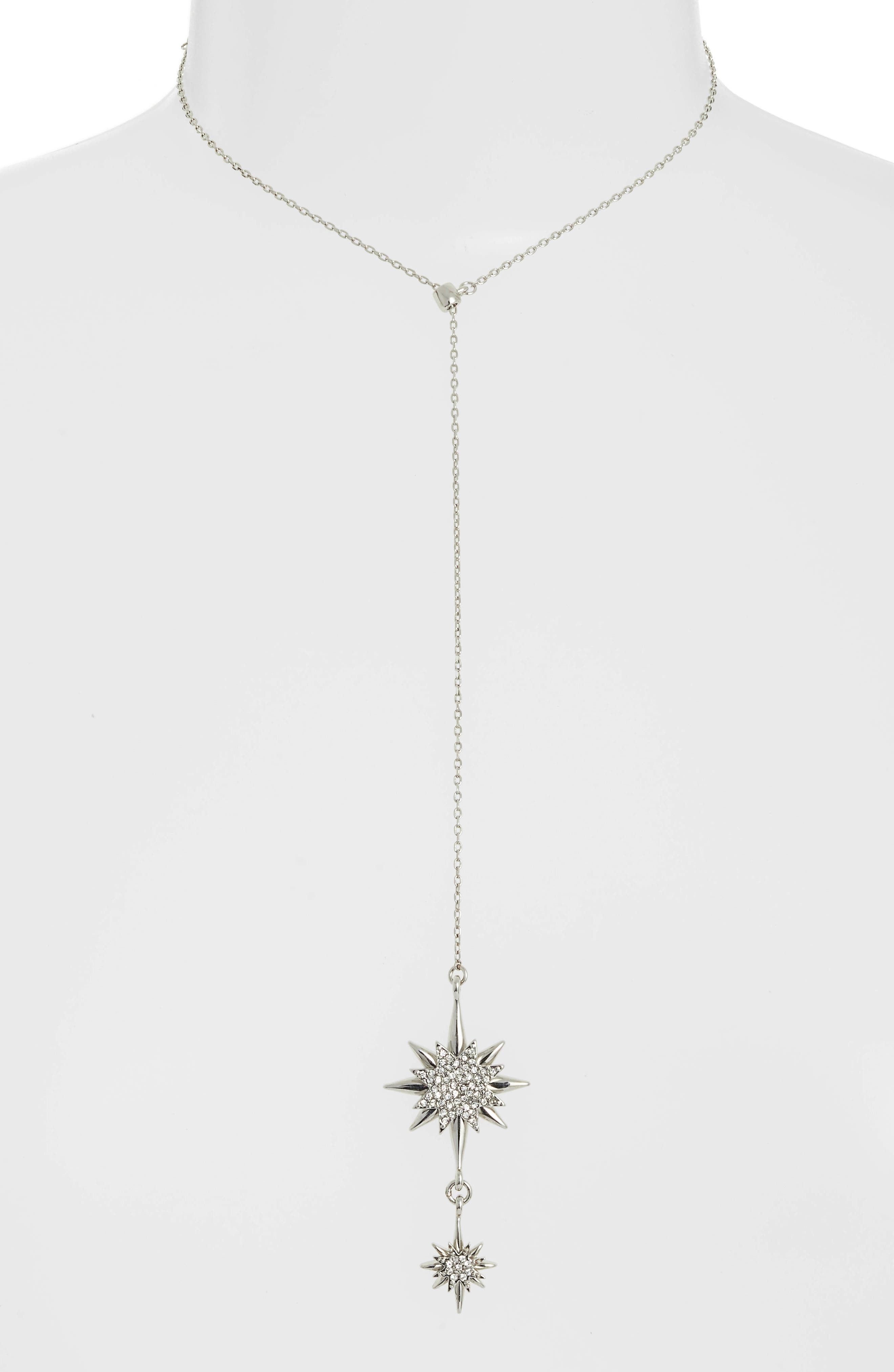 Crystal Starburst Lariat Necklace,                             Alternate thumbnail 2, color,                             SILVER