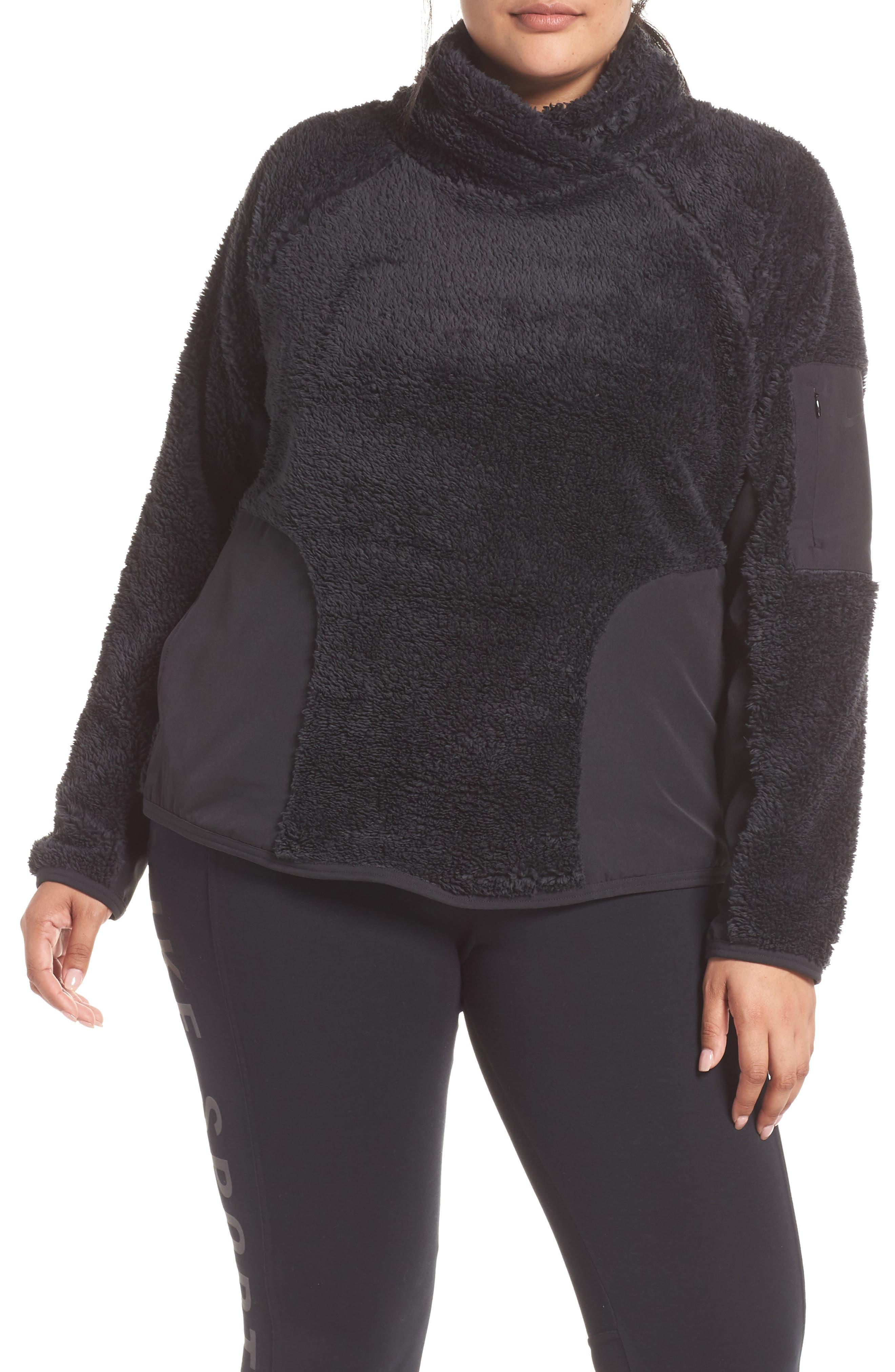 NIKE Faux Shearling Pullover, Main, color, BLACK/ BLACK