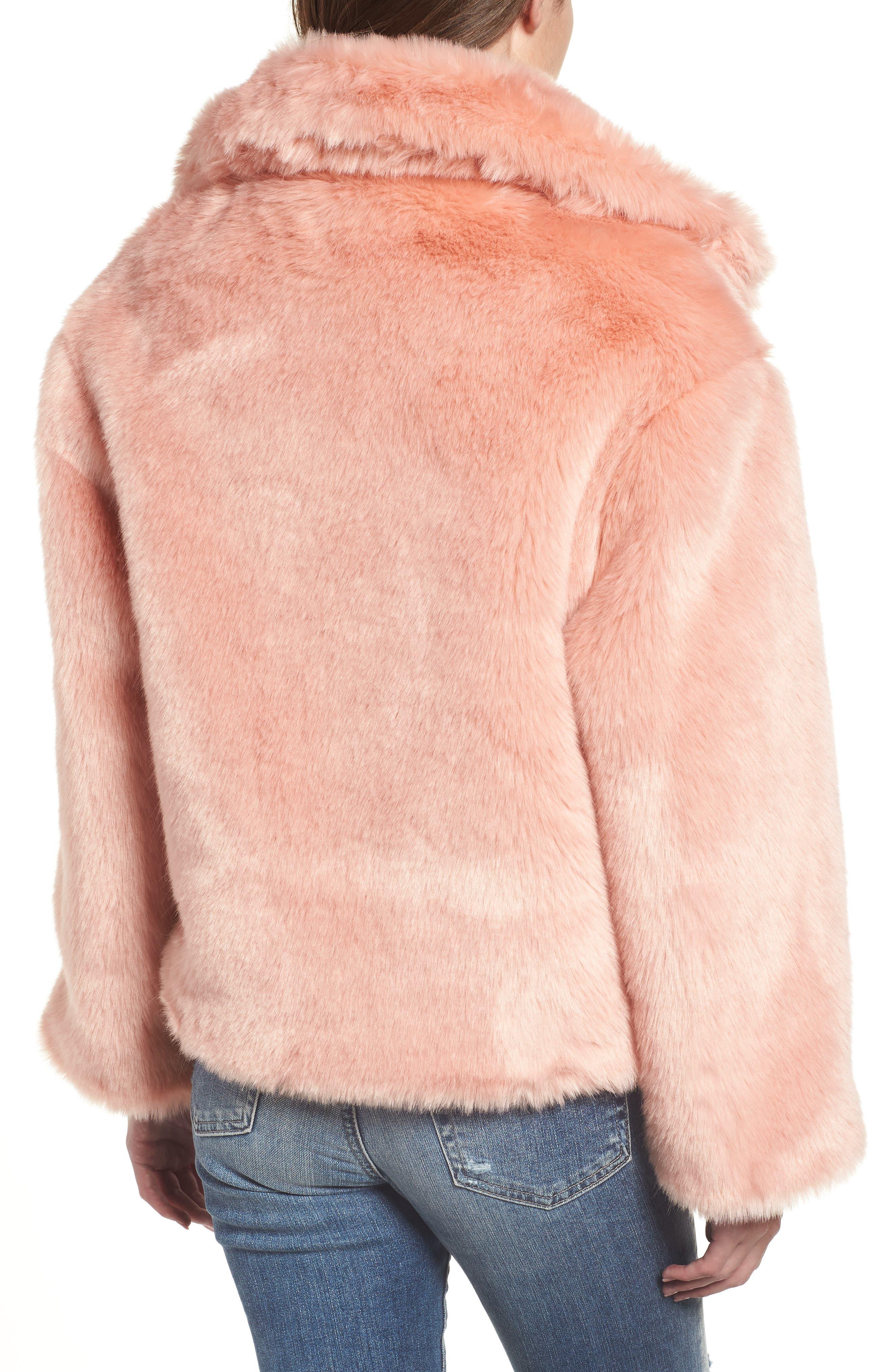 Boxy Faux Fur Coat,                             Alternate thumbnail 2, color,                             CHERRY BLOSSOM