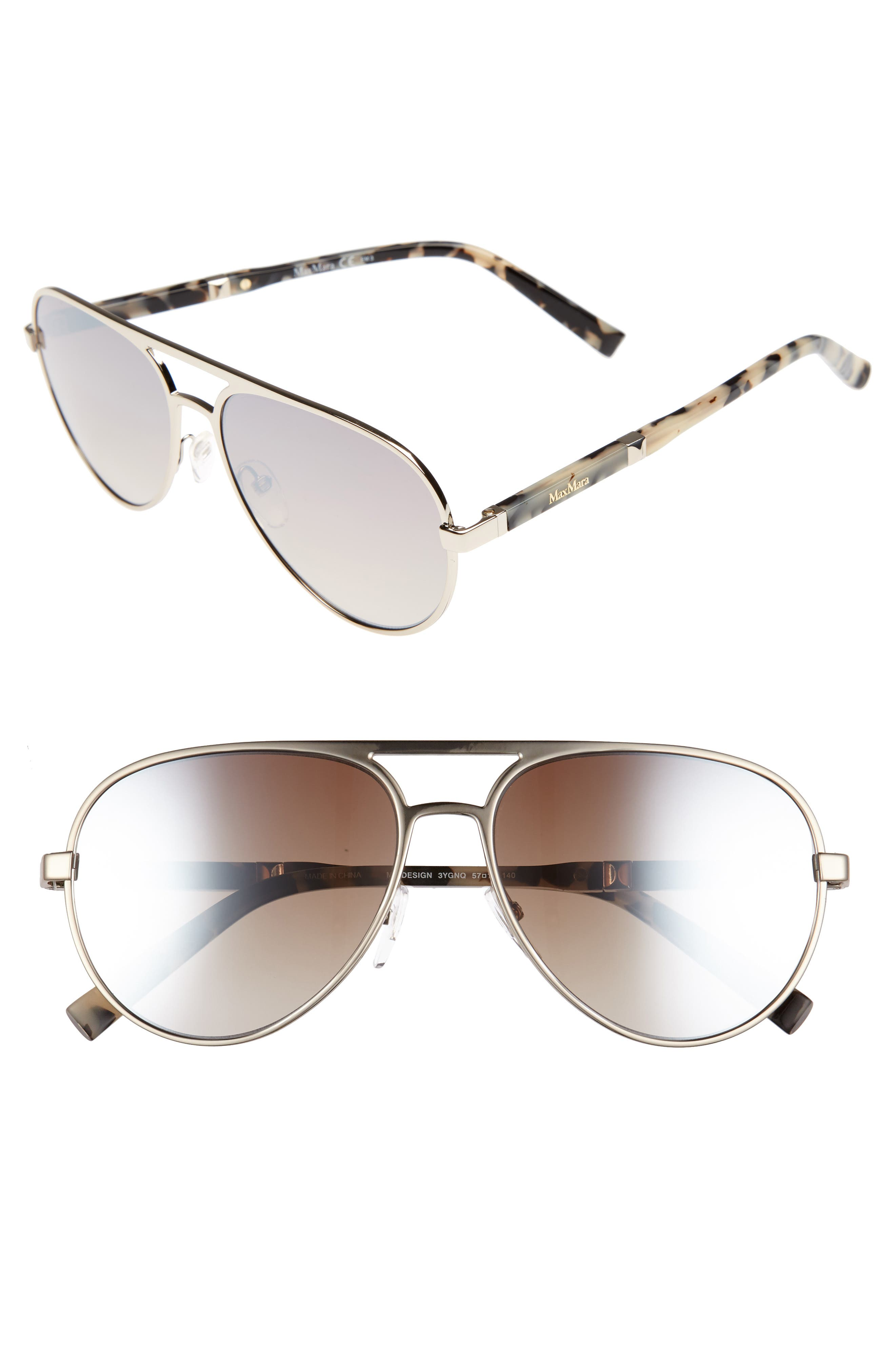 Desigs 57mm Gradient Aviator Sunglasses,                             Main thumbnail 2, color,