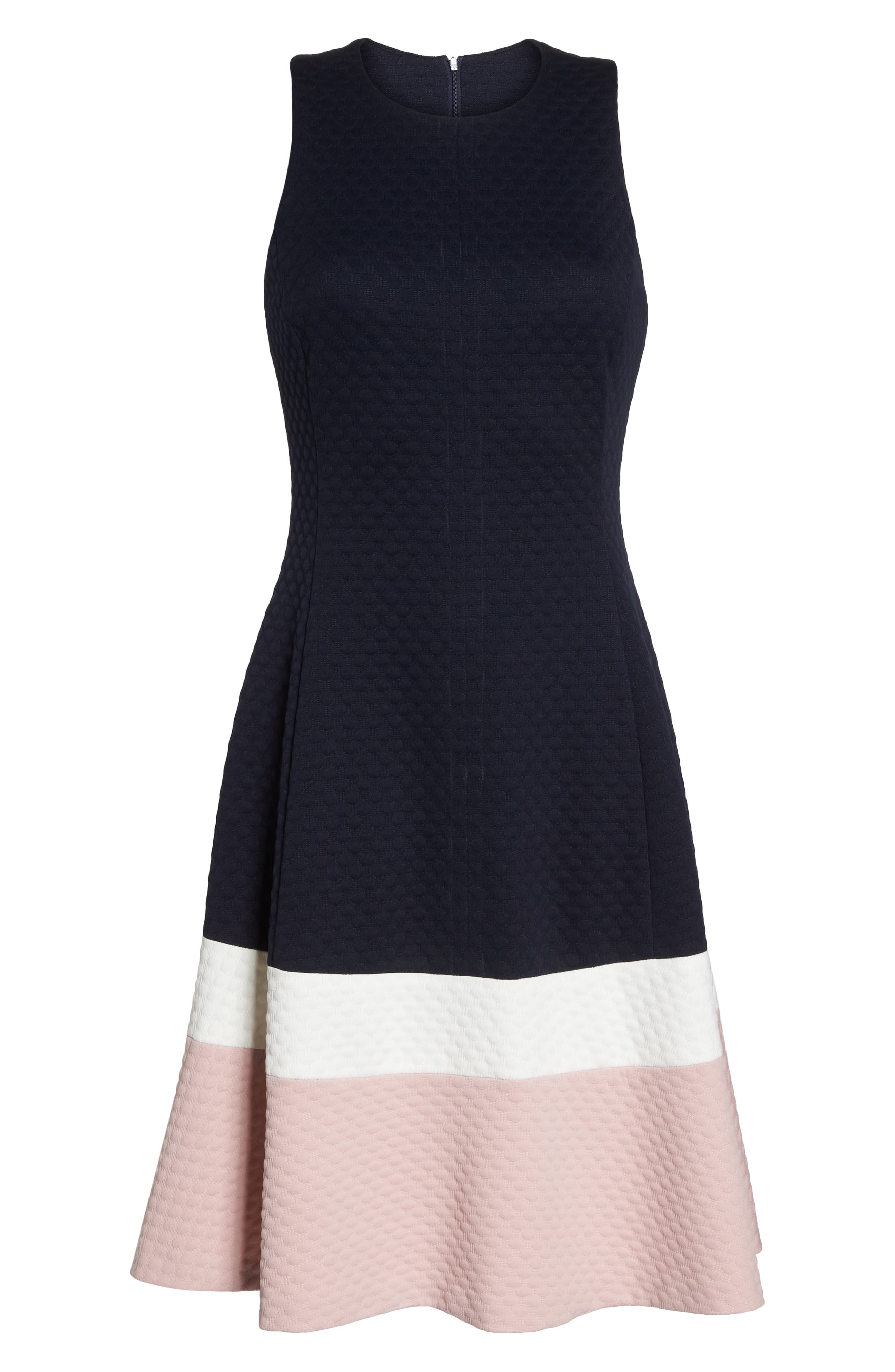 Colorblock Texture Knit Fit & Flare Dress,                             Alternate thumbnail 7, color,                             NAVY/ IVORY/ BLUSH