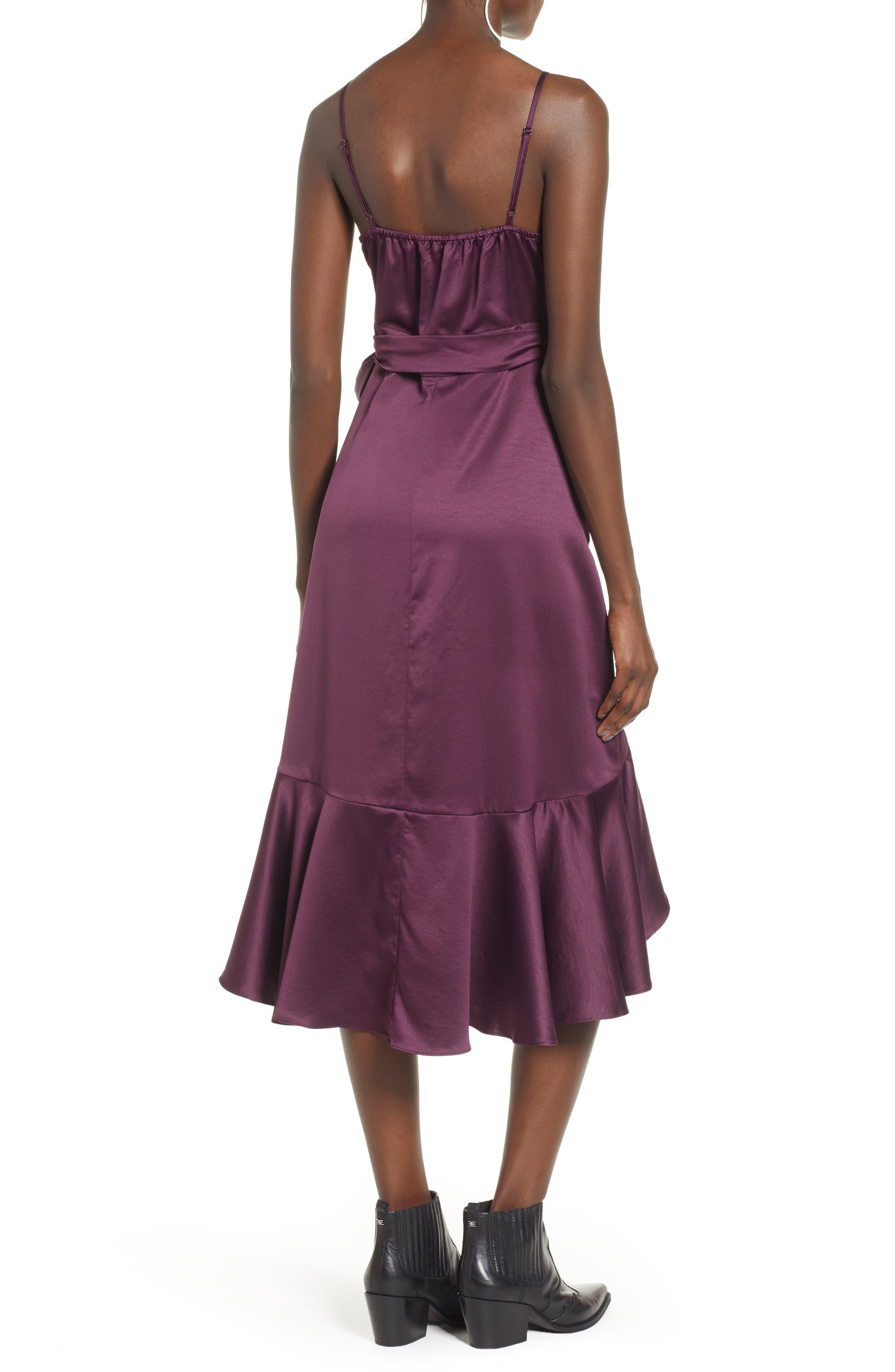 BAND OF GYPSIES,                             Payton Ruffled High/Low Dress,                             Alternate thumbnail 2, color,                             PLUM