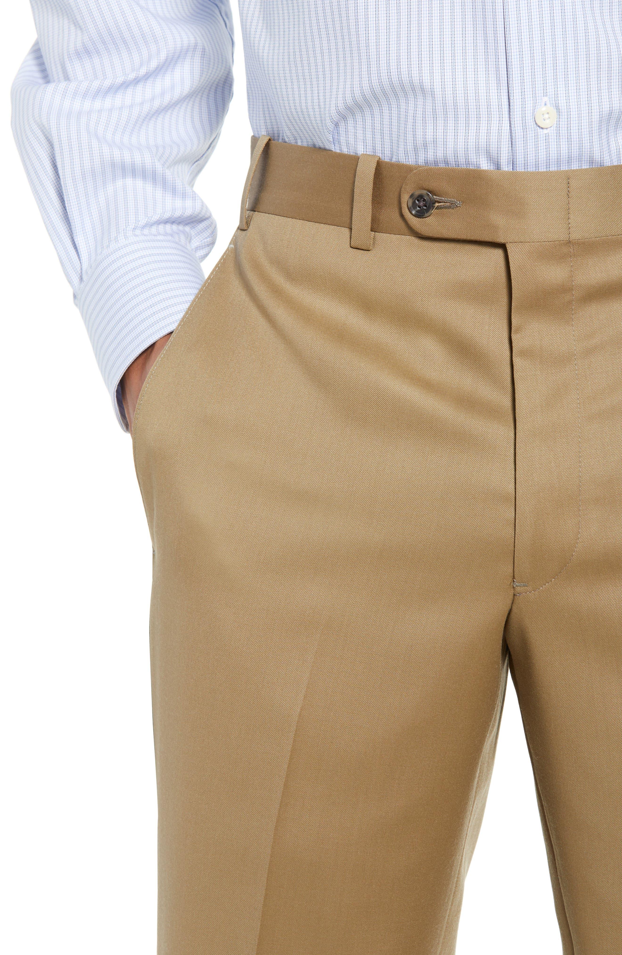 Torino Flat Front Wool Gabardine Trousers,                             Alternate thumbnail 22, color,