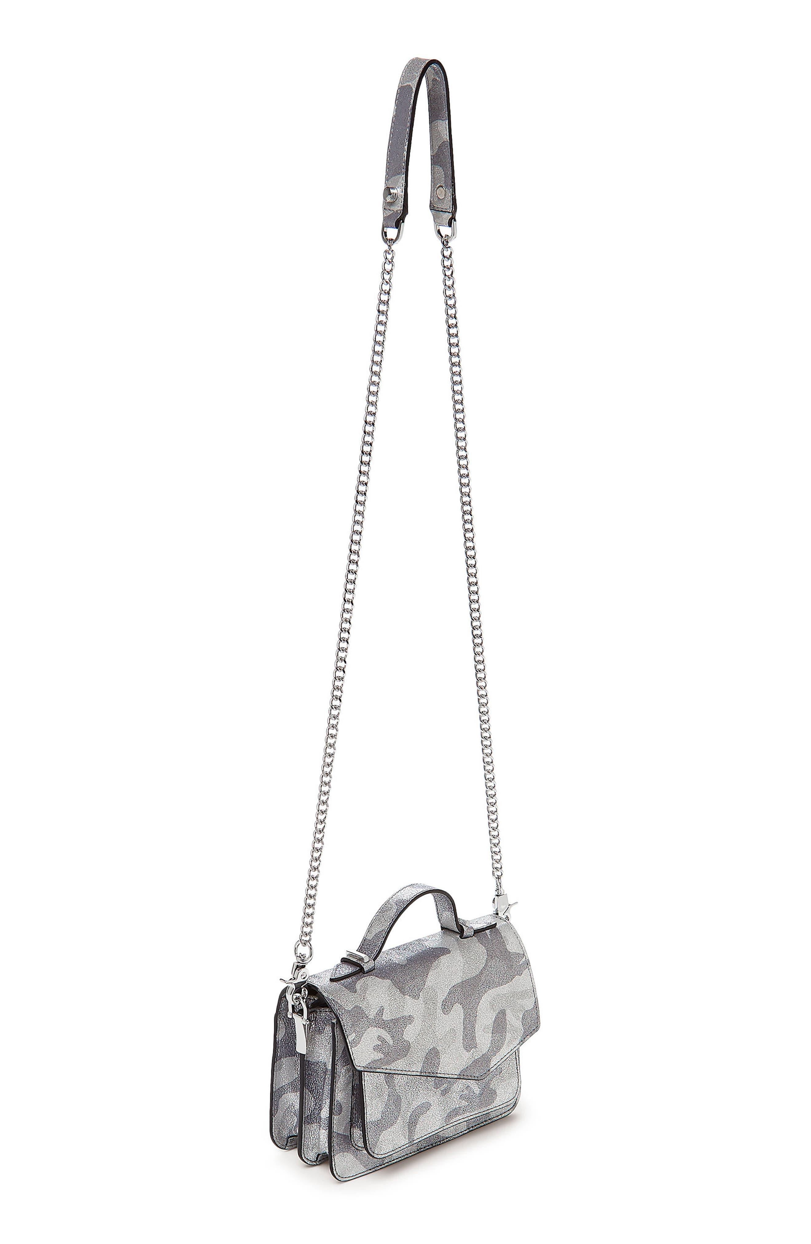 Mini Cobble Hill Calfskin Leather Crossbody Bag,                             Alternate thumbnail 4, color,                             SILVER CAMO