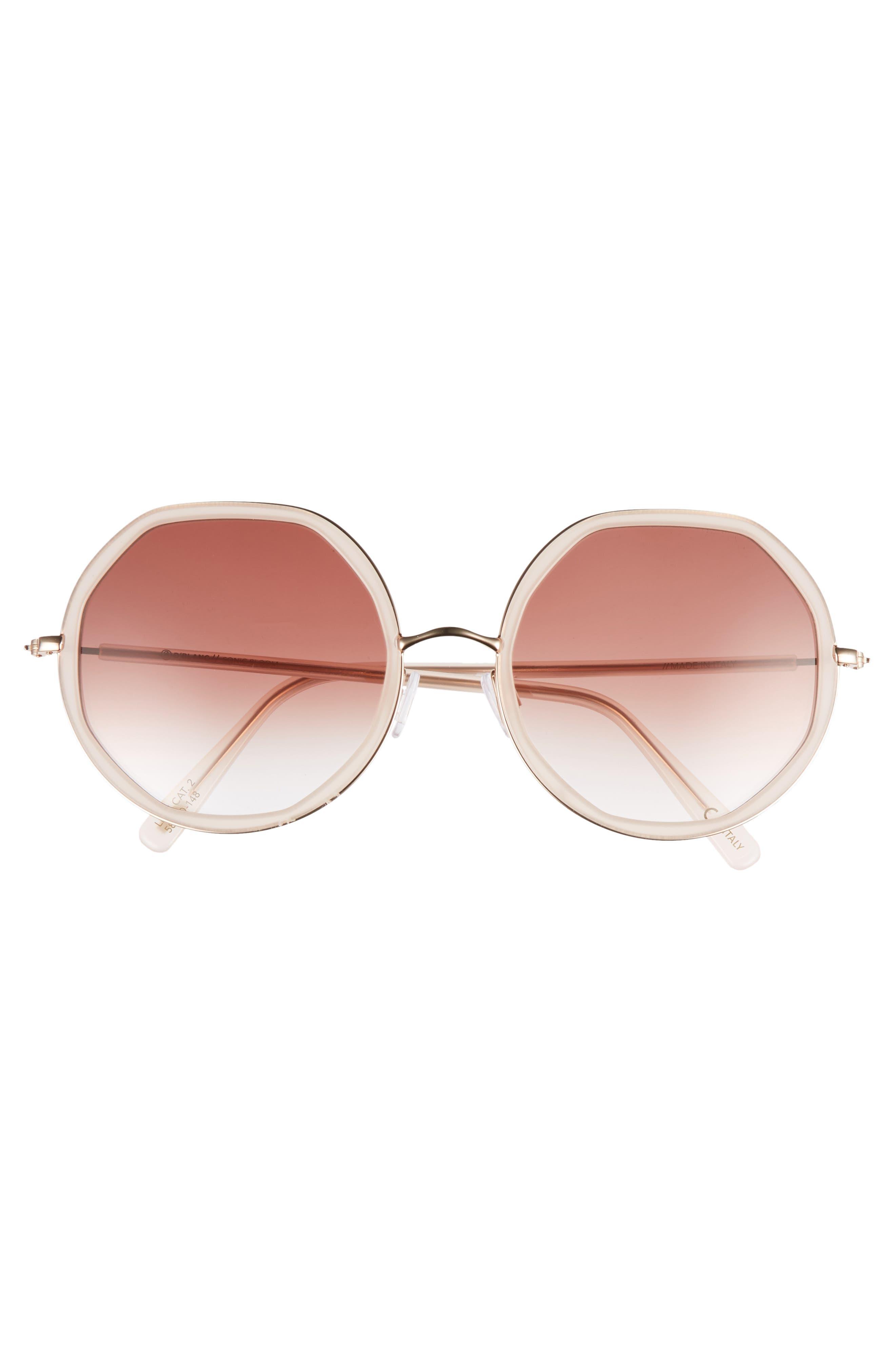 D'BLANC Sonic Bloom 58mm Sunglasses,                             Alternate thumbnail 3, color,                             OCTAGON BLUSH