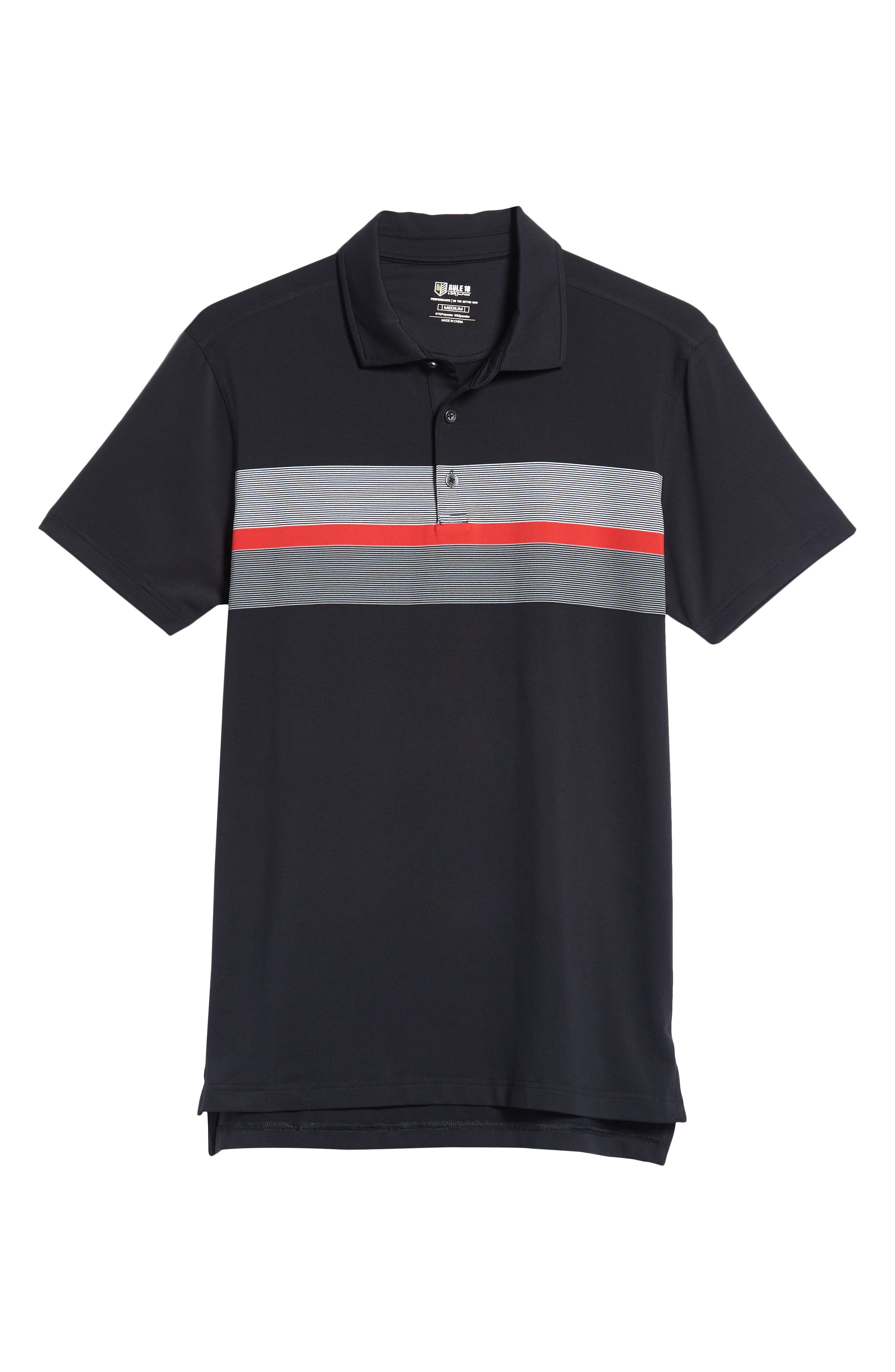 R18 Tech Daytona Stripe Golf Polo,                             Alternate thumbnail 6, color,                             BLACK
