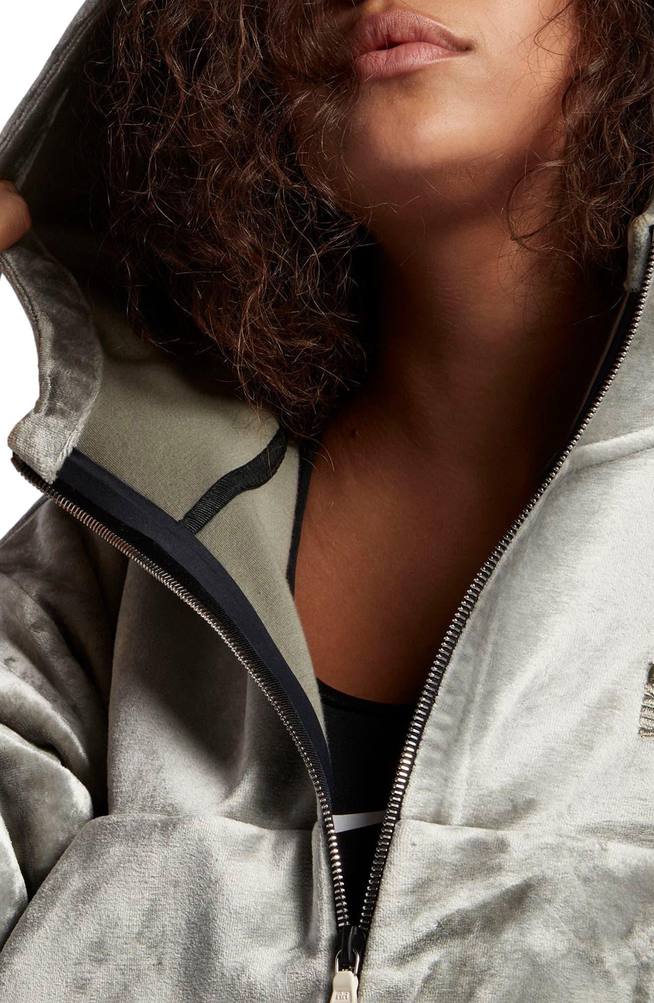 NikeLab Essentials Women's Velour Zip Hoodie,                             Alternate thumbnail 4, color,                             024