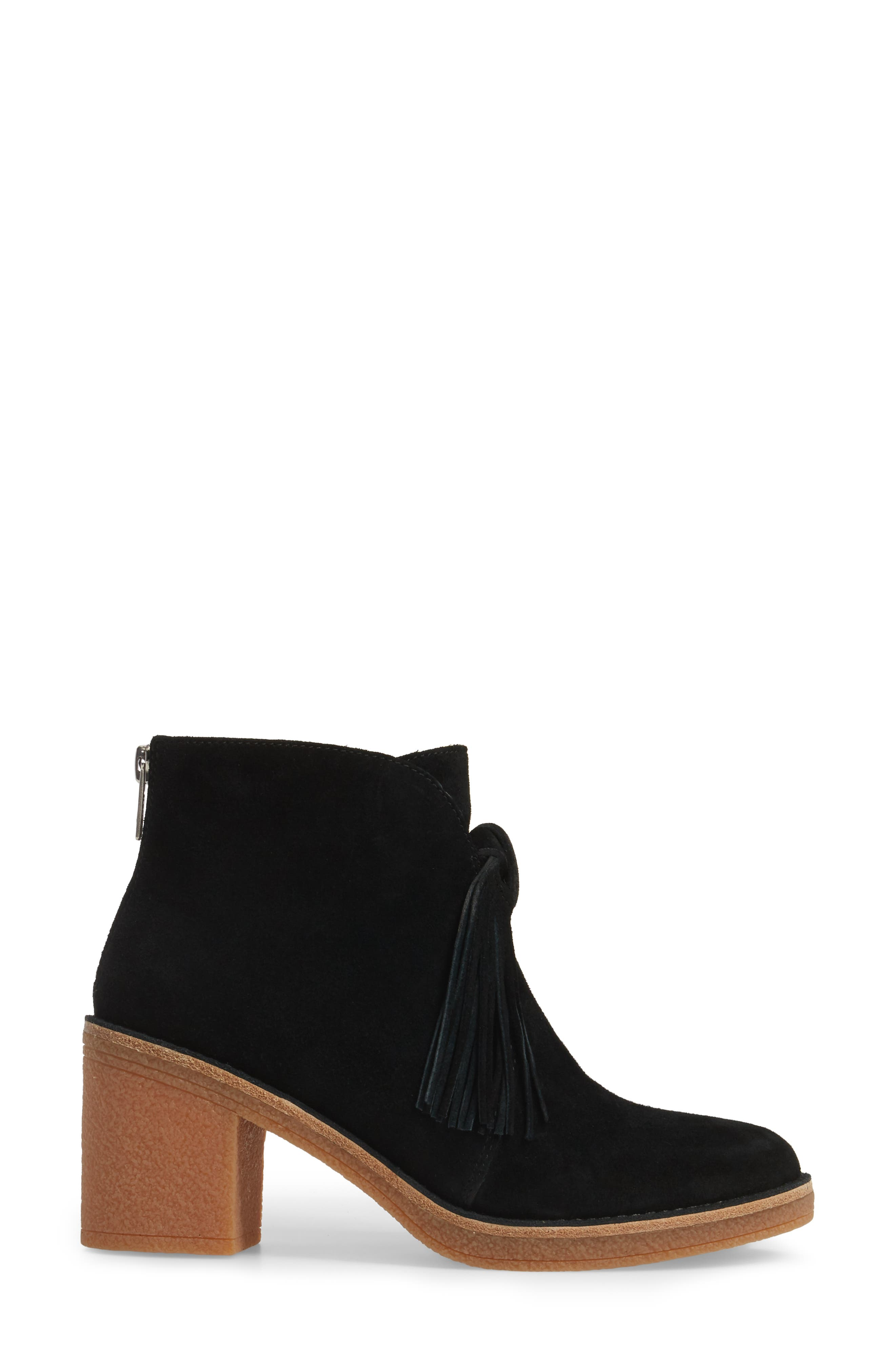 Corin Fringe Tassel Bootie,                             Alternate thumbnail 3, color,                             001