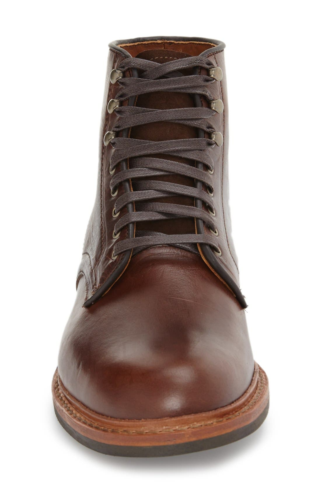 'Higgins Mill' Plain Toe Boot,                             Alternate thumbnail 3, color,                             BROWN LEATHER