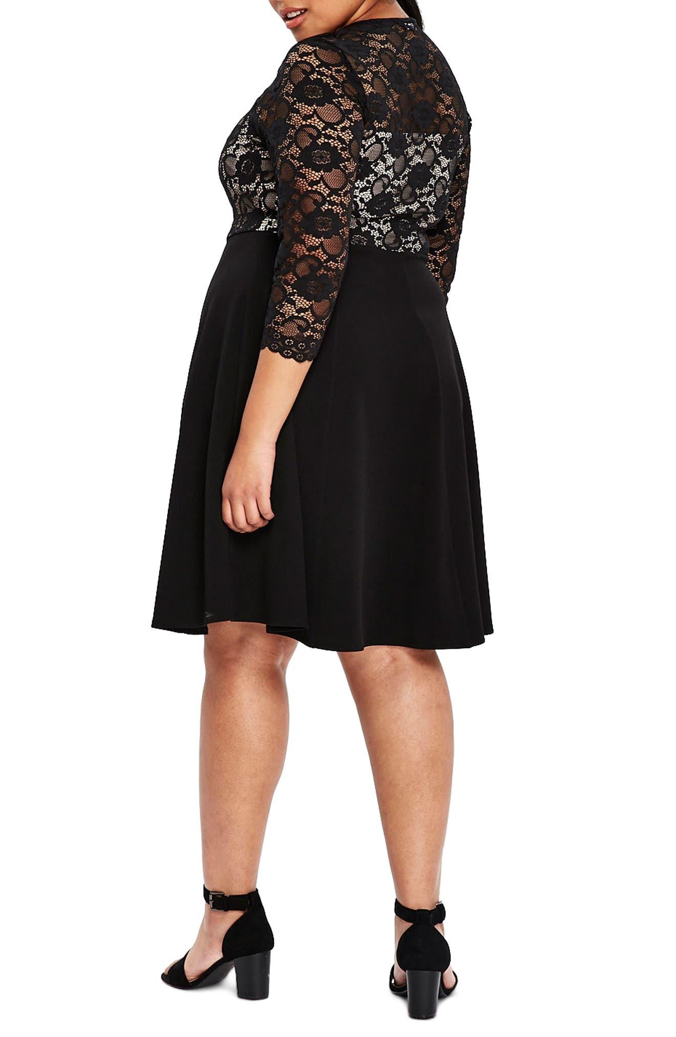 Scallop Lace Fit & Flare Dress,                             Alternate thumbnail 2, color,                             001