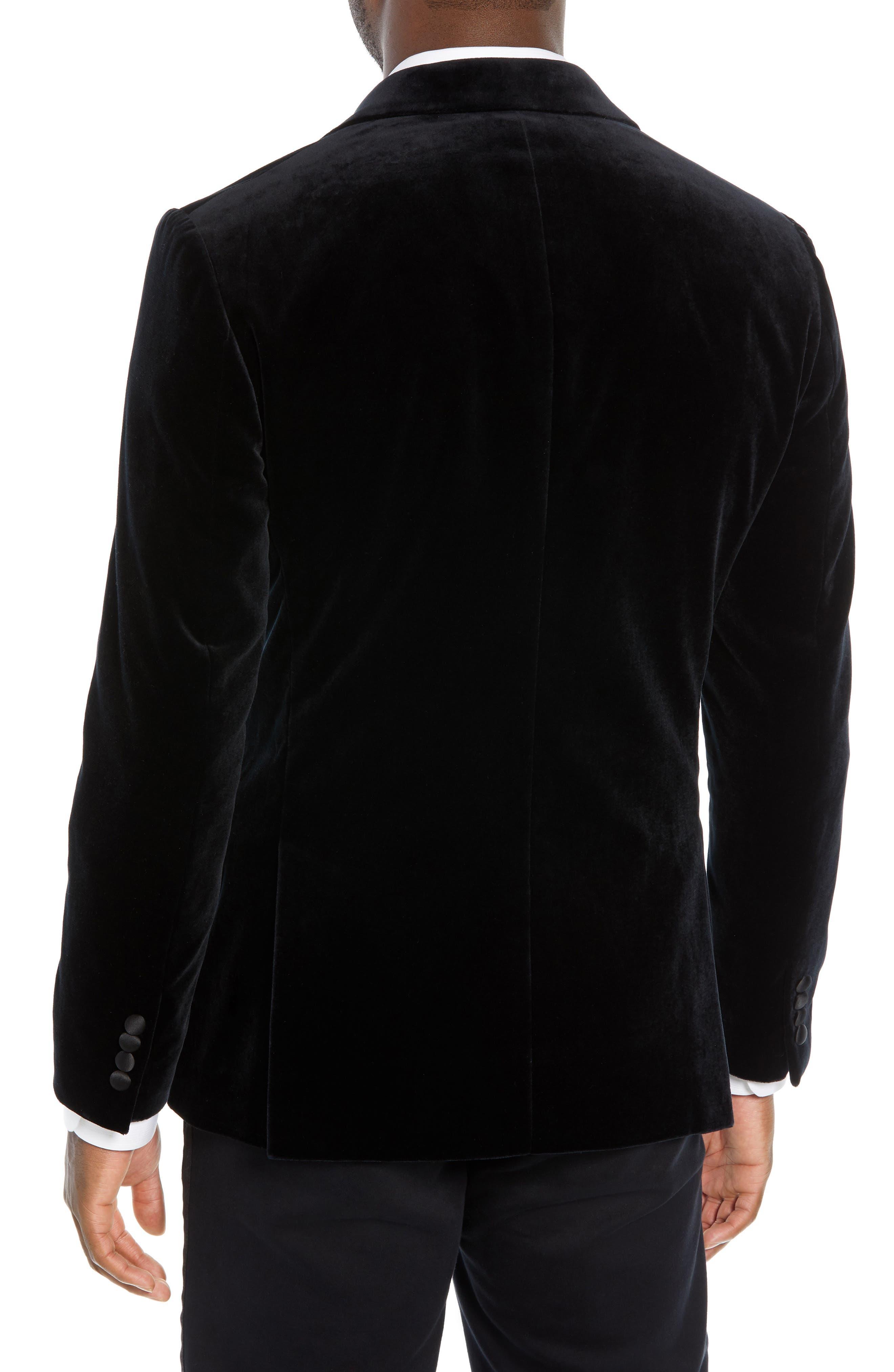 Jetsetter Trim Fit Stretch Velvet Dinner Jacket,                             Alternate thumbnail 2, color,                             BLACK