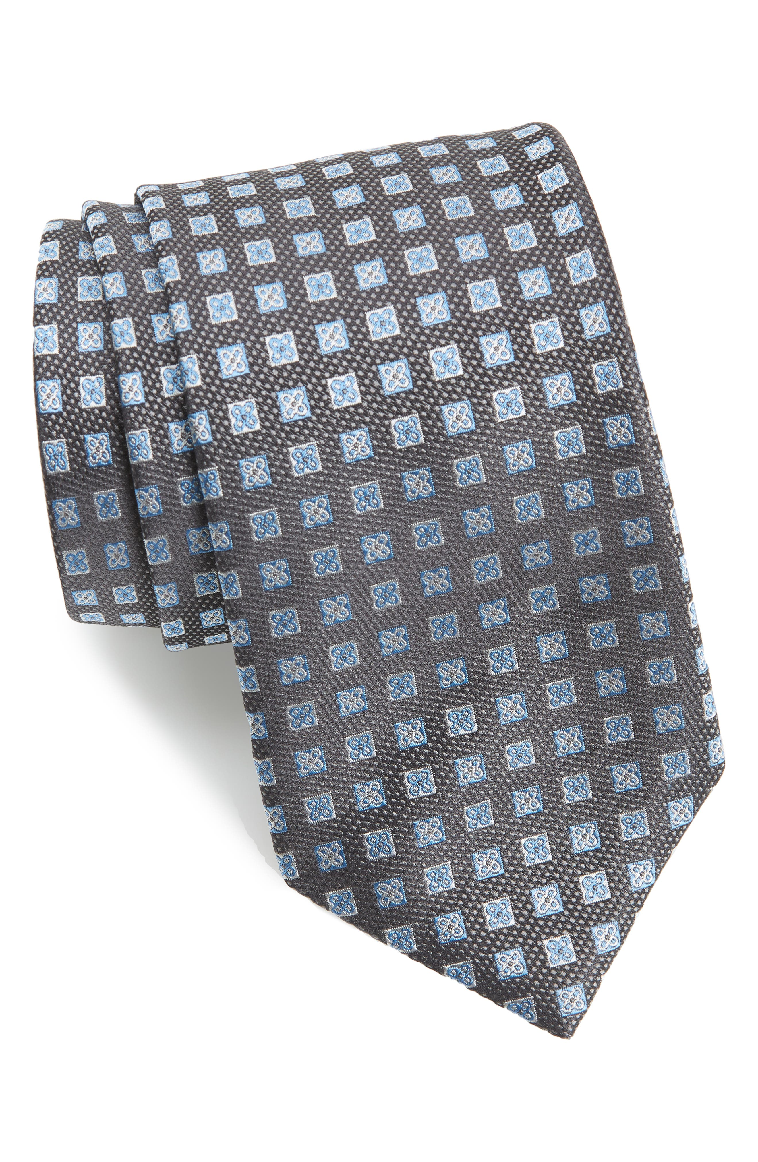 Neat Silk Tie,                             Main thumbnail 1, color,                             CHARCOAL