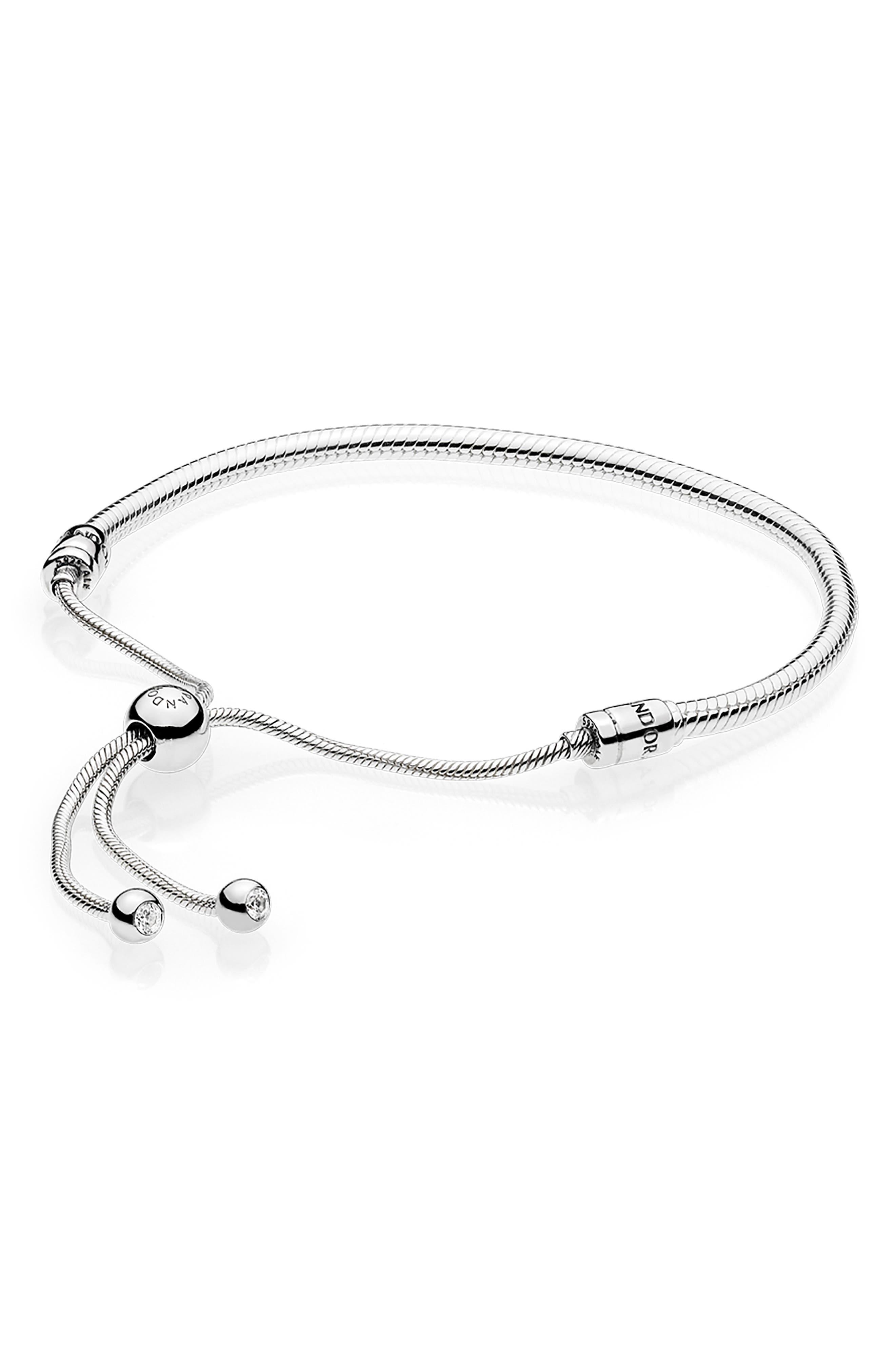 PANDORA,                             Slider Charm Bracelet,                             Main thumbnail 1, color,                             SILVER