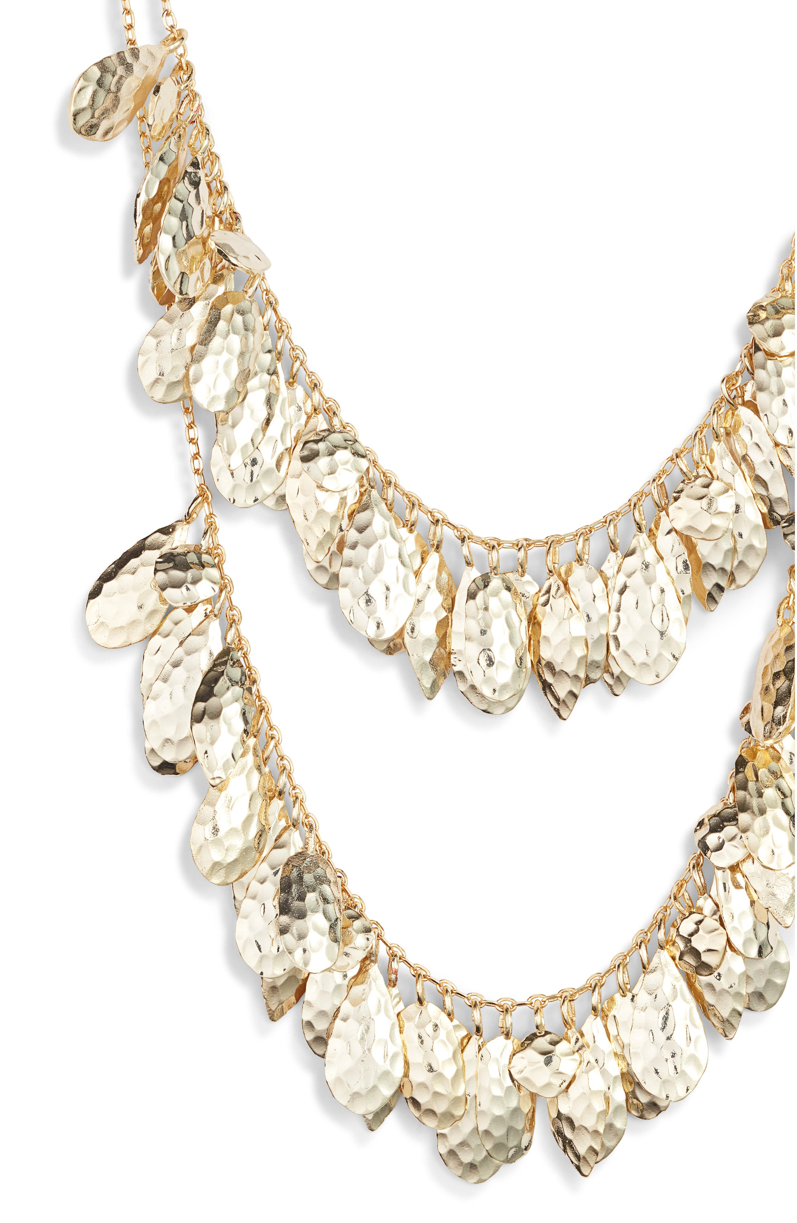 Evelyn Layered Bib Necklace,                             Alternate thumbnail 2, color,                             GOLD