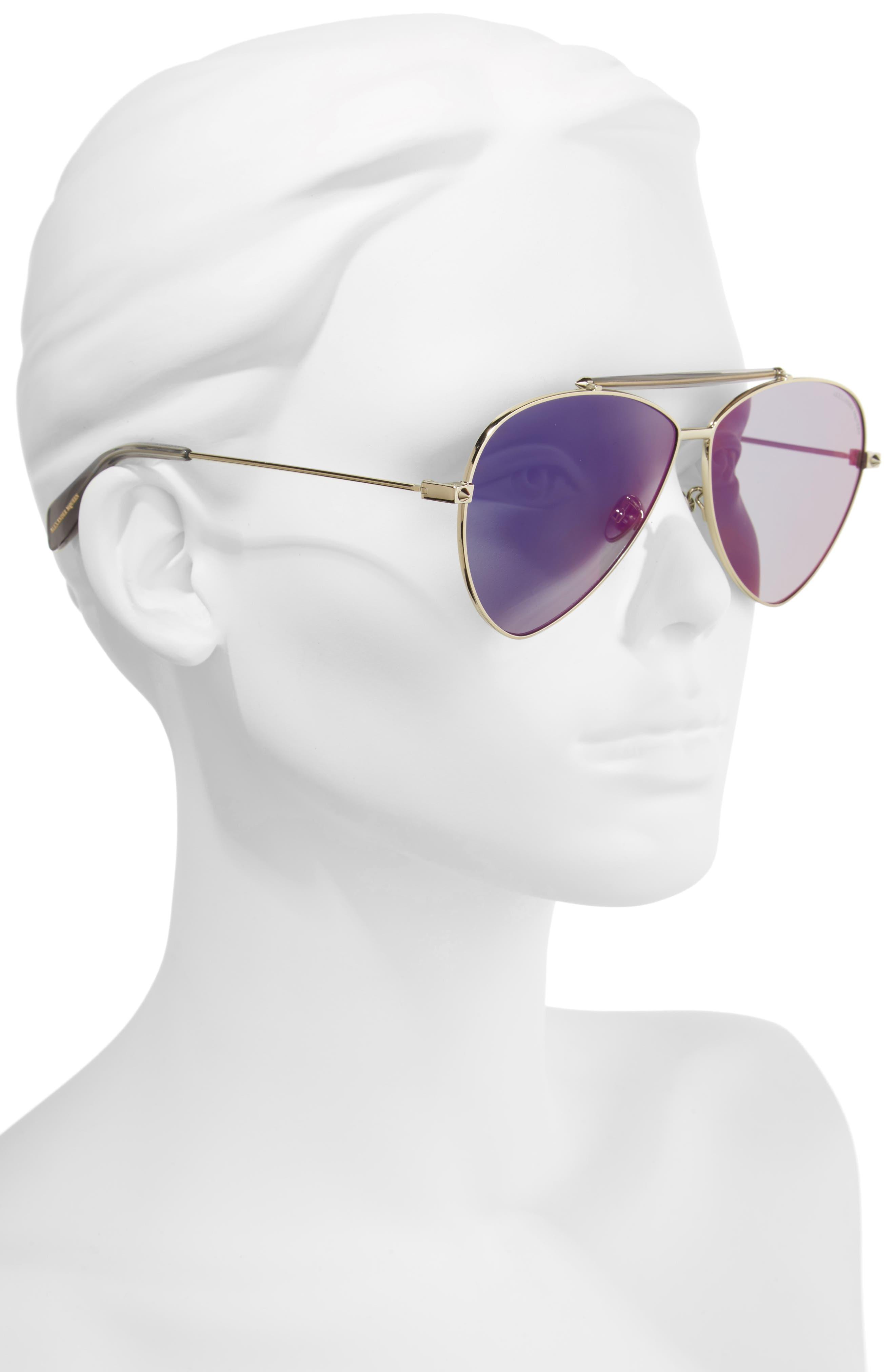 63mm Oversize Aviator Sunglasses,                             Alternate thumbnail 4, color,