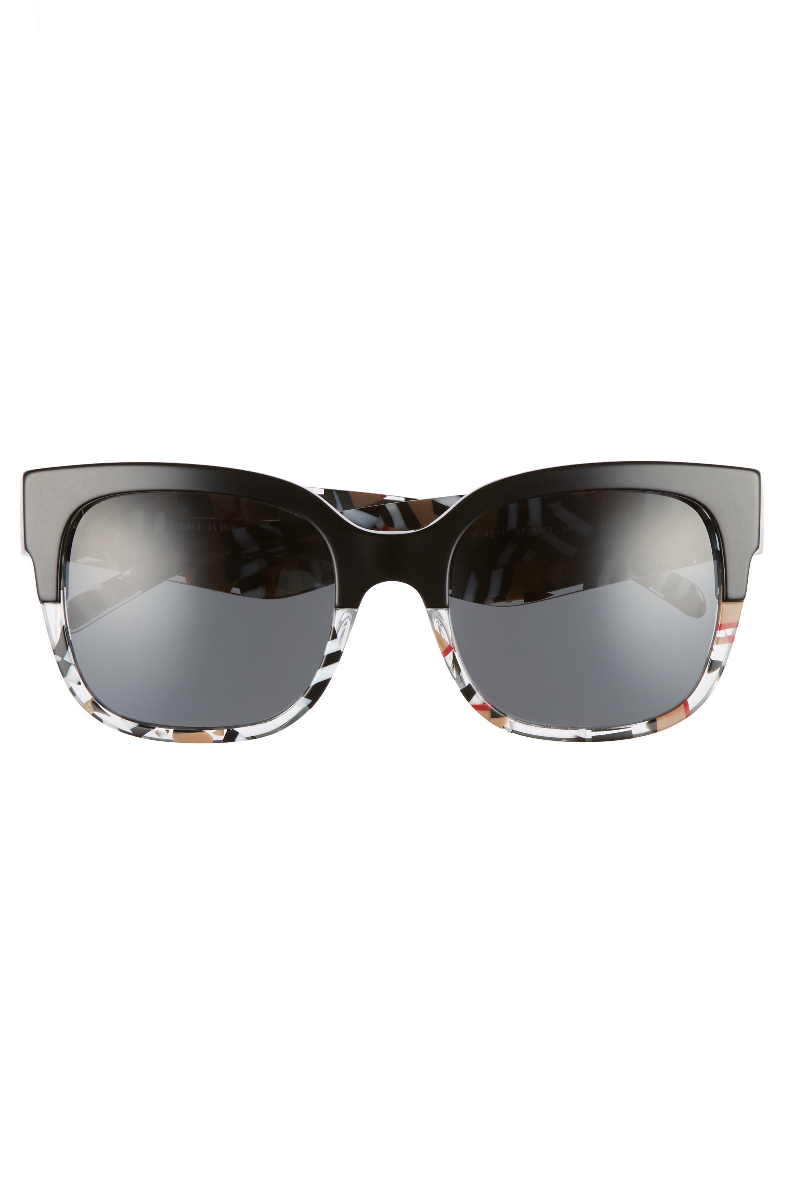 56mm Cat Eye Sunglasses,                             Alternate thumbnail 4, color,                             001