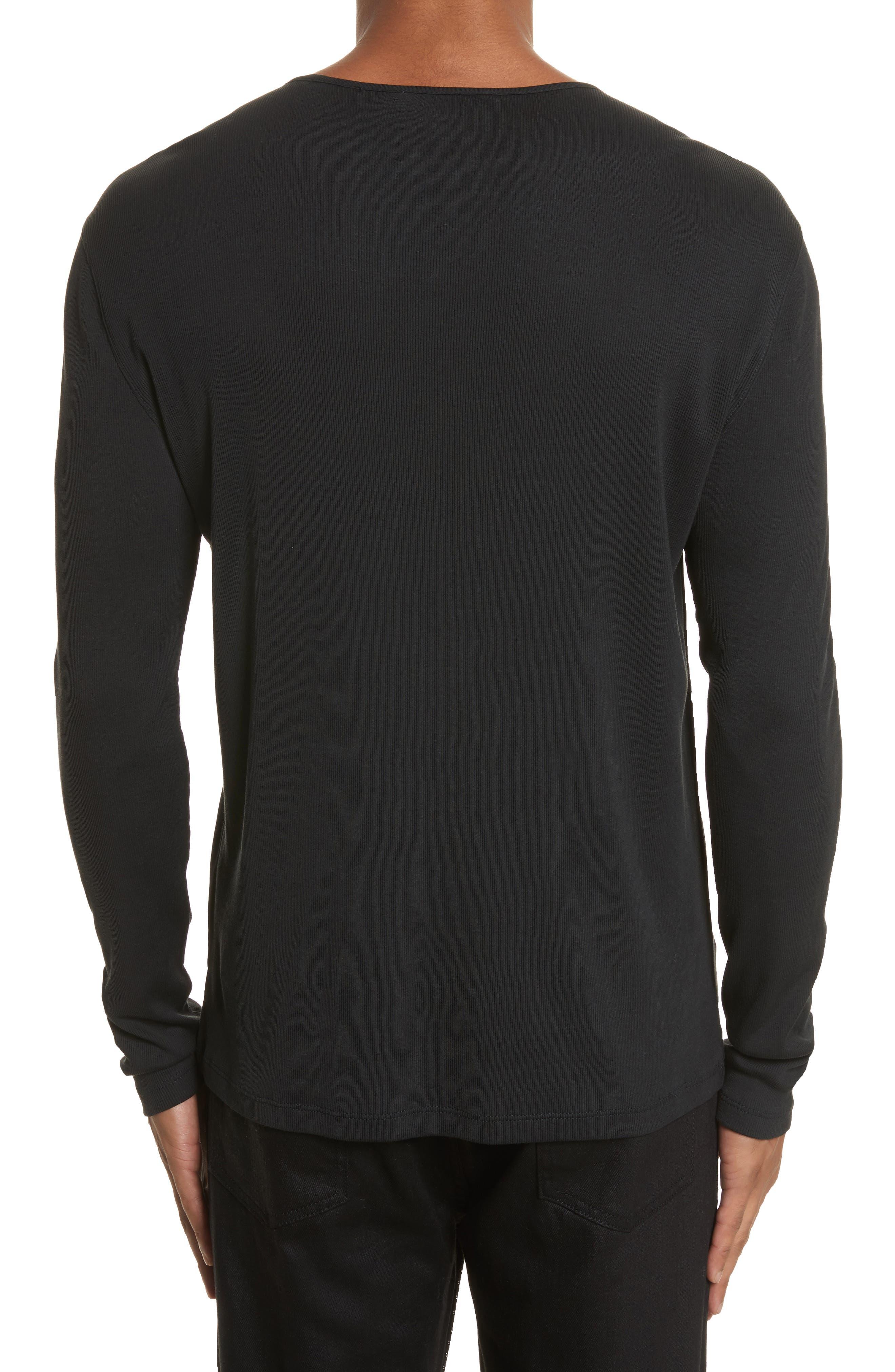 Tab Crewneck T-Shirt,                             Alternate thumbnail 2, color,                             BLACK