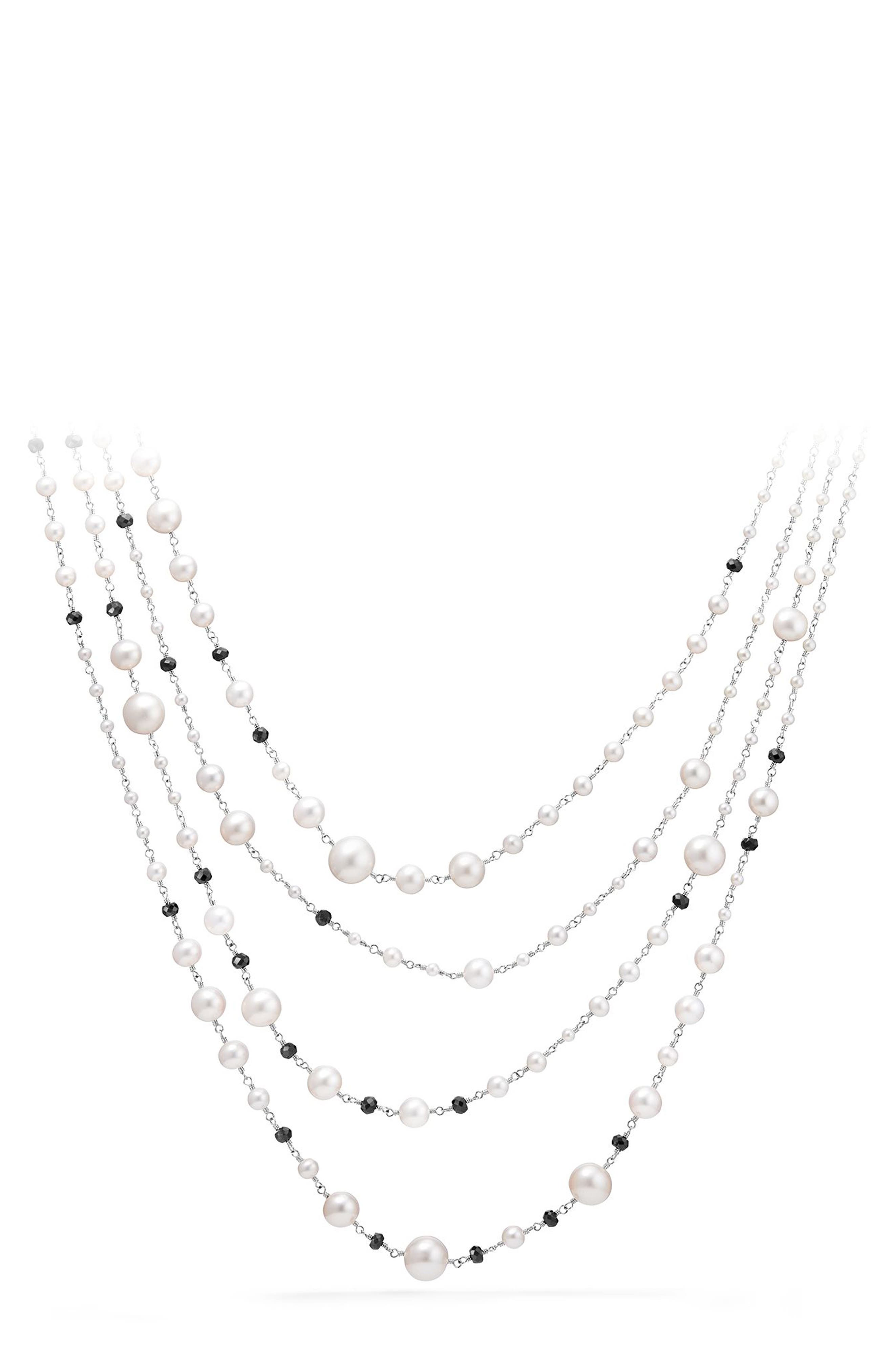 Solari Pearl & Bead Multistrand Necklace,                             Main thumbnail 1, color,                             PEARL/ BLACK SPINEL