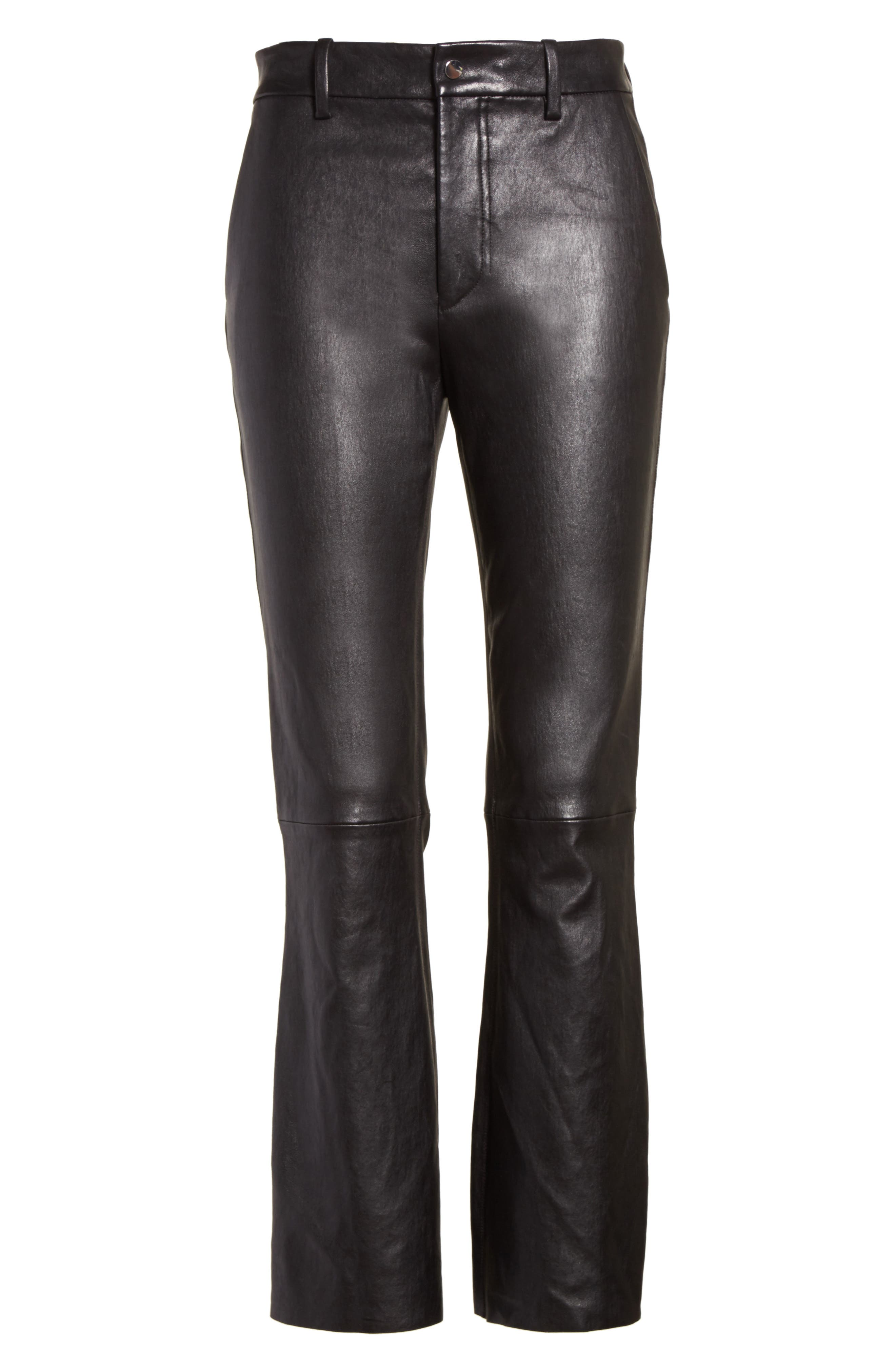 Stretch Leather Flare Pants,                             Alternate thumbnail 6, color,                             001