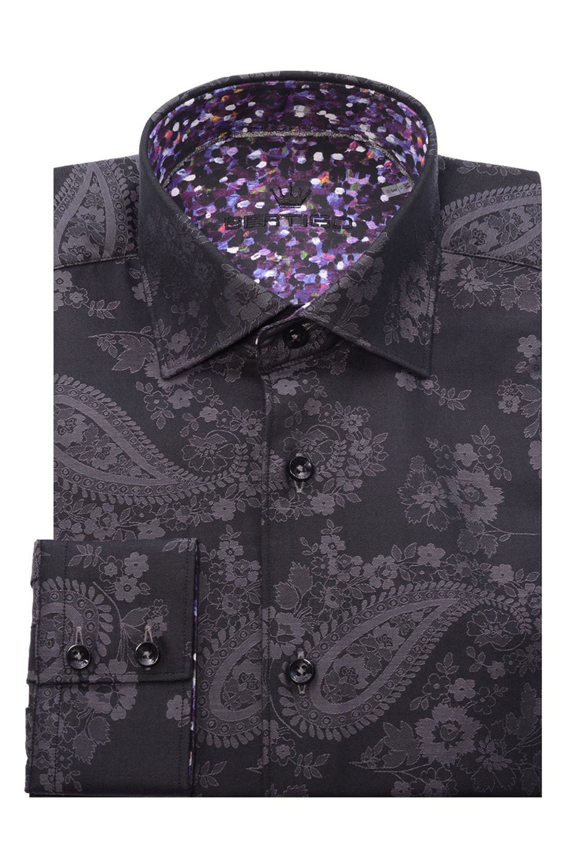 Paisley Modern Fit Sport Shirt,                             Alternate thumbnail 5, color,